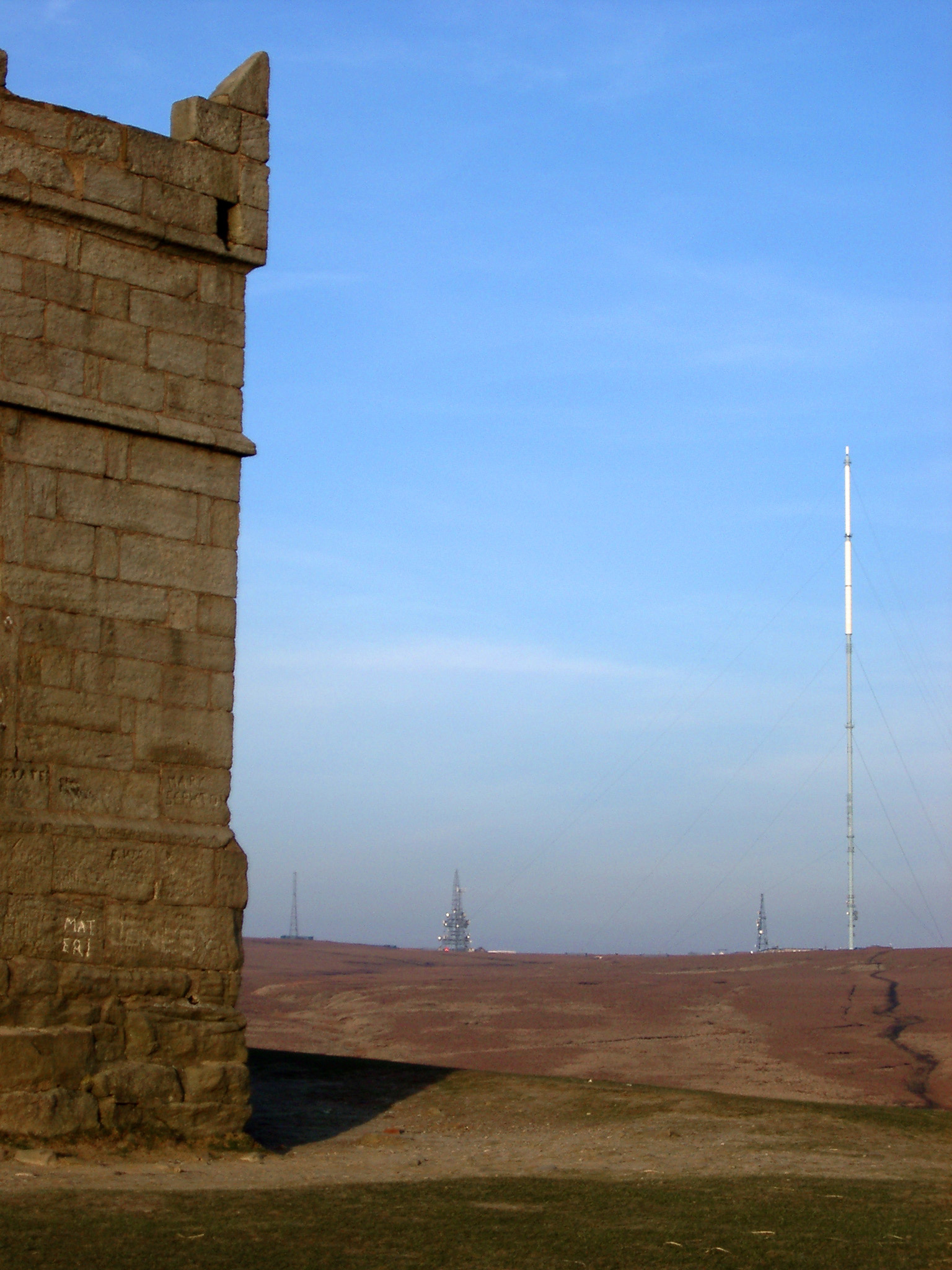 Old Concrete Tower on the Landmark Rivington Pike in Lancashire, England. Captured with Light Blue Sky Background.