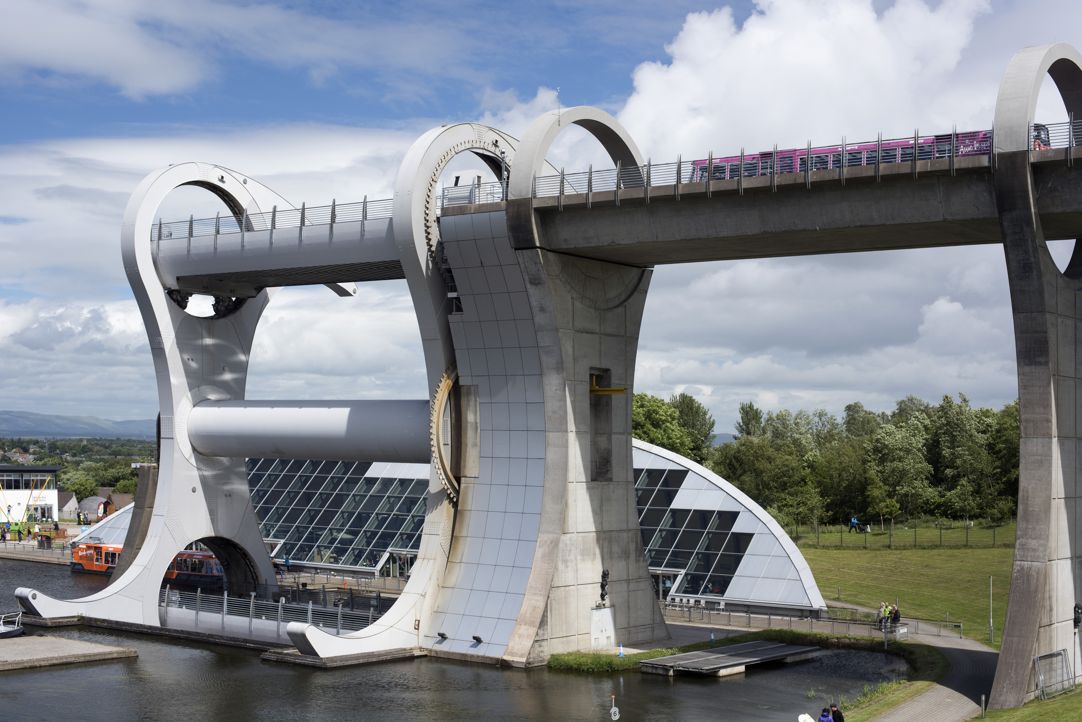 High angle view on main circular viaduct sections of famous Falkirk Wheel in Scotland