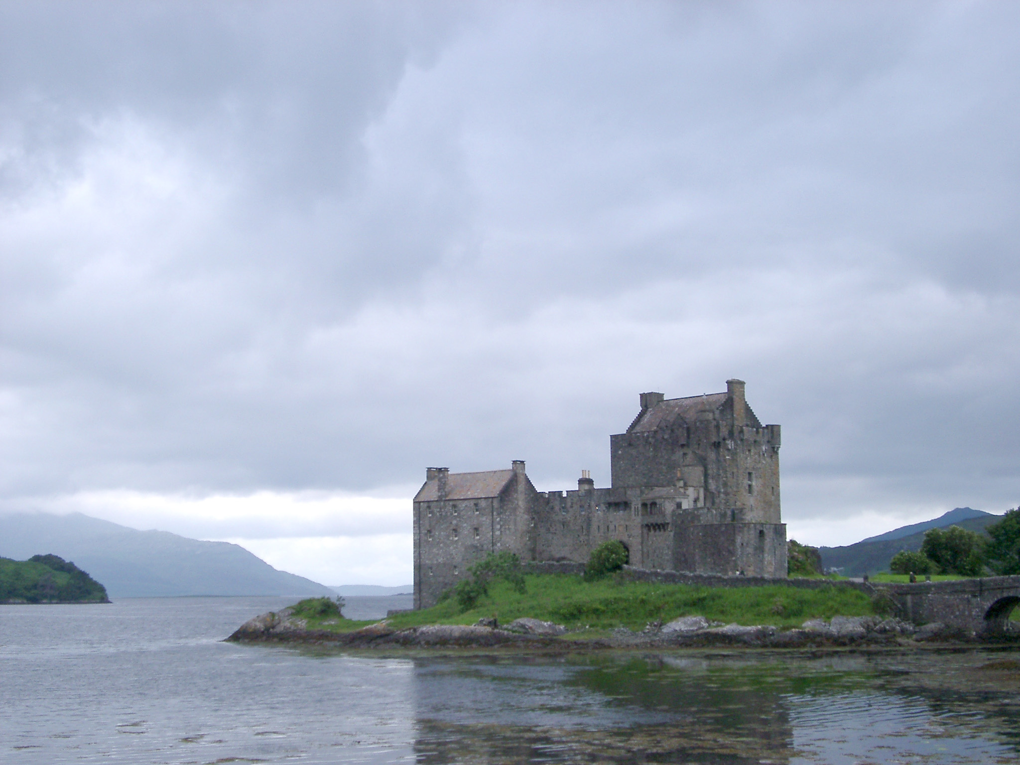 Eilean Donan Castle, tourist attraction, built on a small tidal island in western Highlands of Scotland