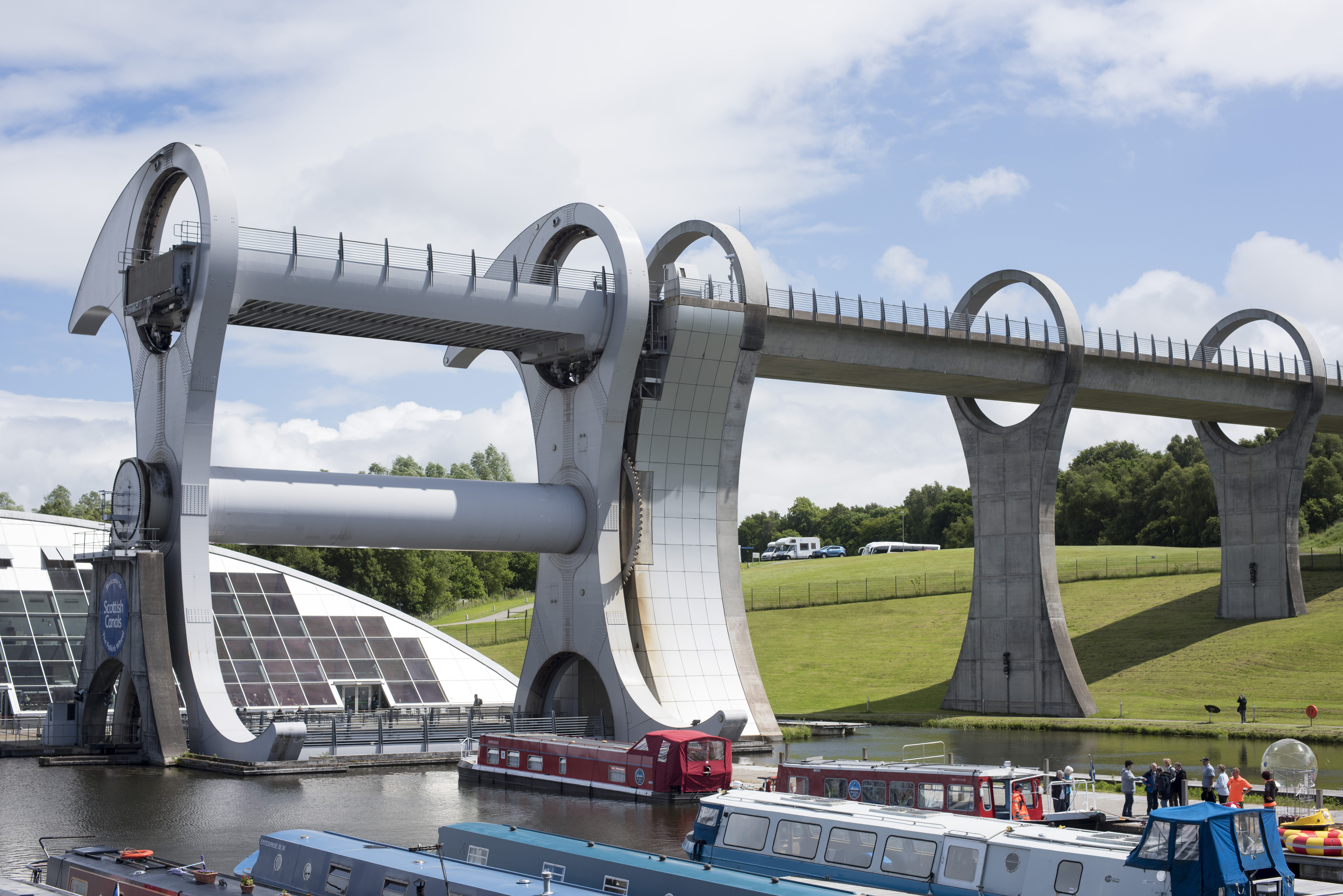 A view of the Falkirk Wheel Canal boat lift, Scotland