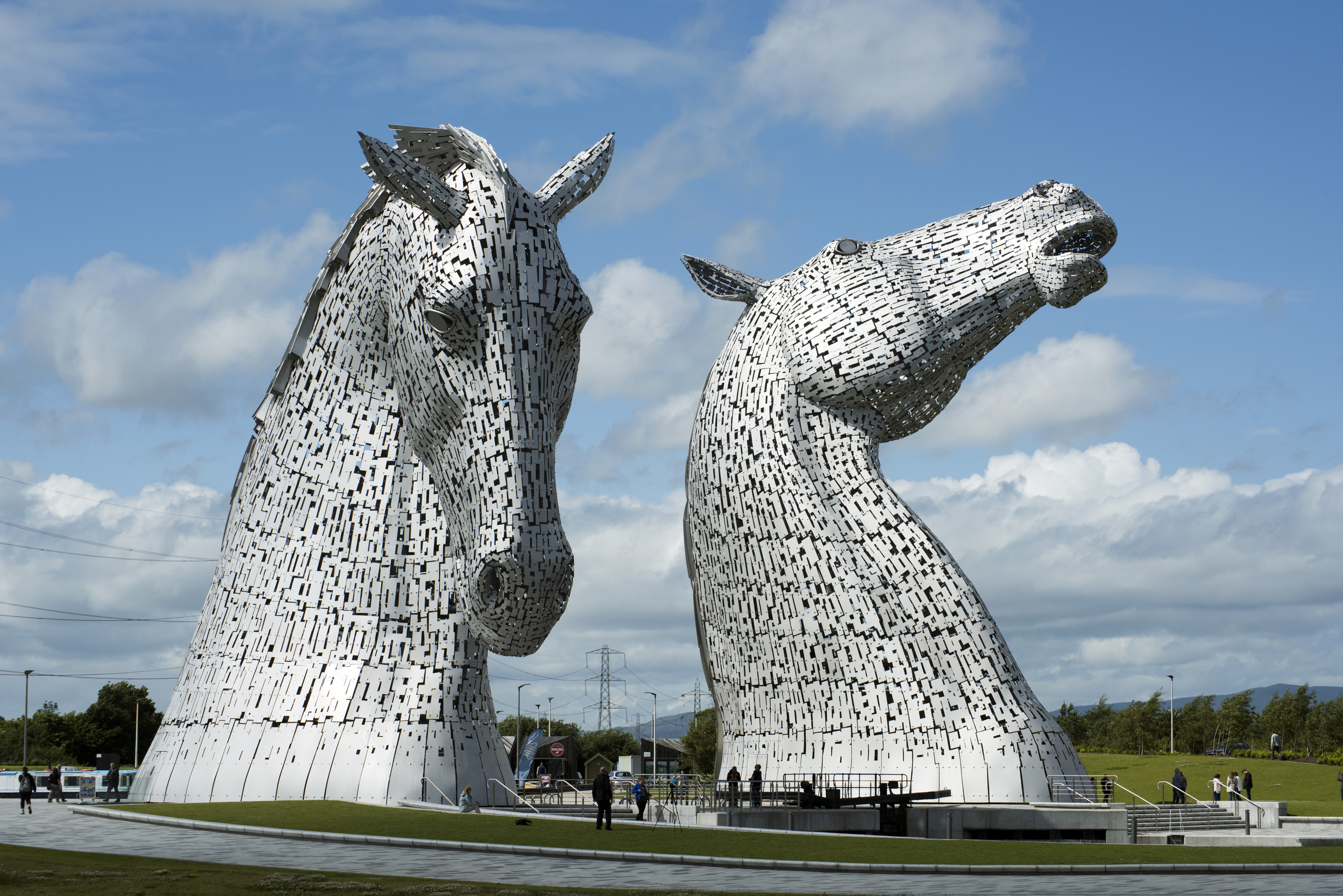 Two extra large monuments in Falkirk, Scotland shaped like horse heads in tribute to their hard labor