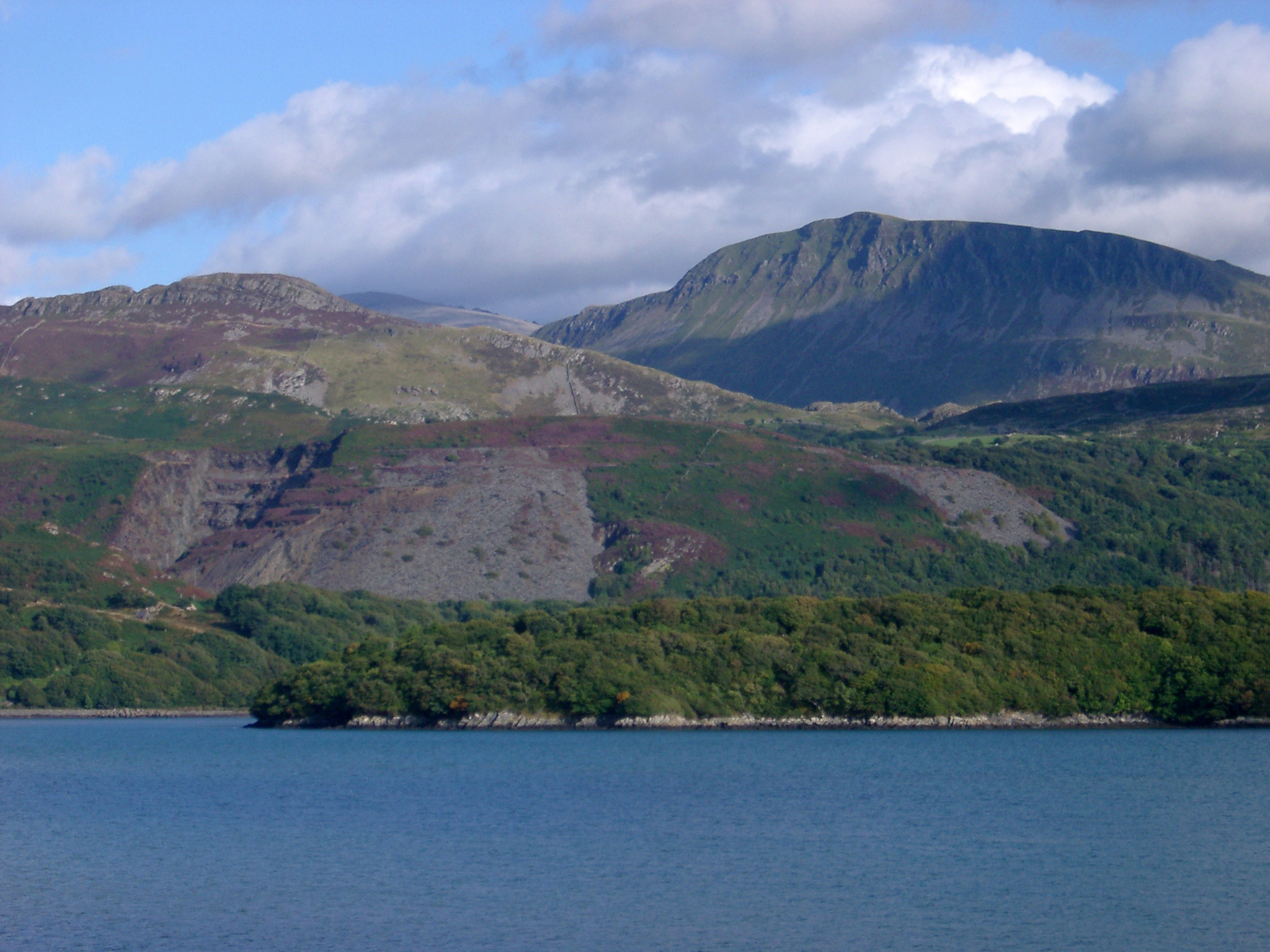 View of Lake Llyn Padam, a glacial lake at the foot of Snowdon on whose banks lies the busy village of Llanberis, Wales