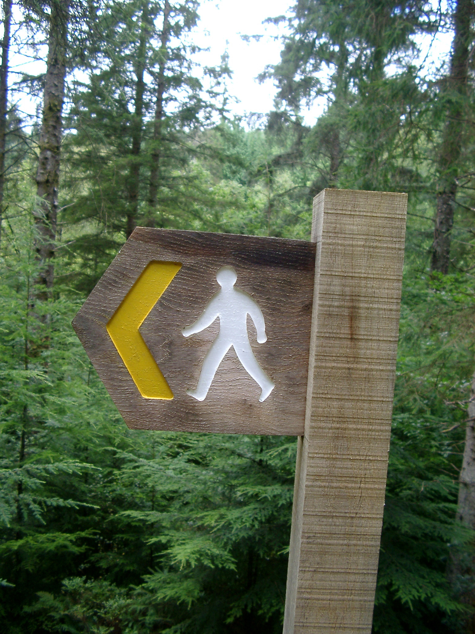 Walking sign for a woodland trail with the silhouette of a man walking and a left pointing arrow indicating the direction against a background of leafy green trees