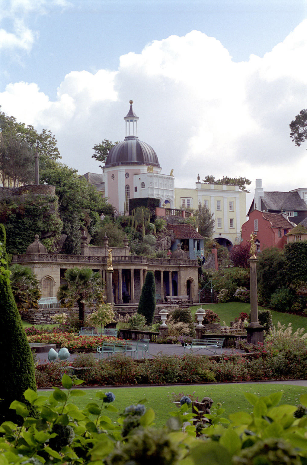 Scenic view of the architecture in Portmeirion, a village in North Wales modelled on an Italian town and a popular tourist attraction