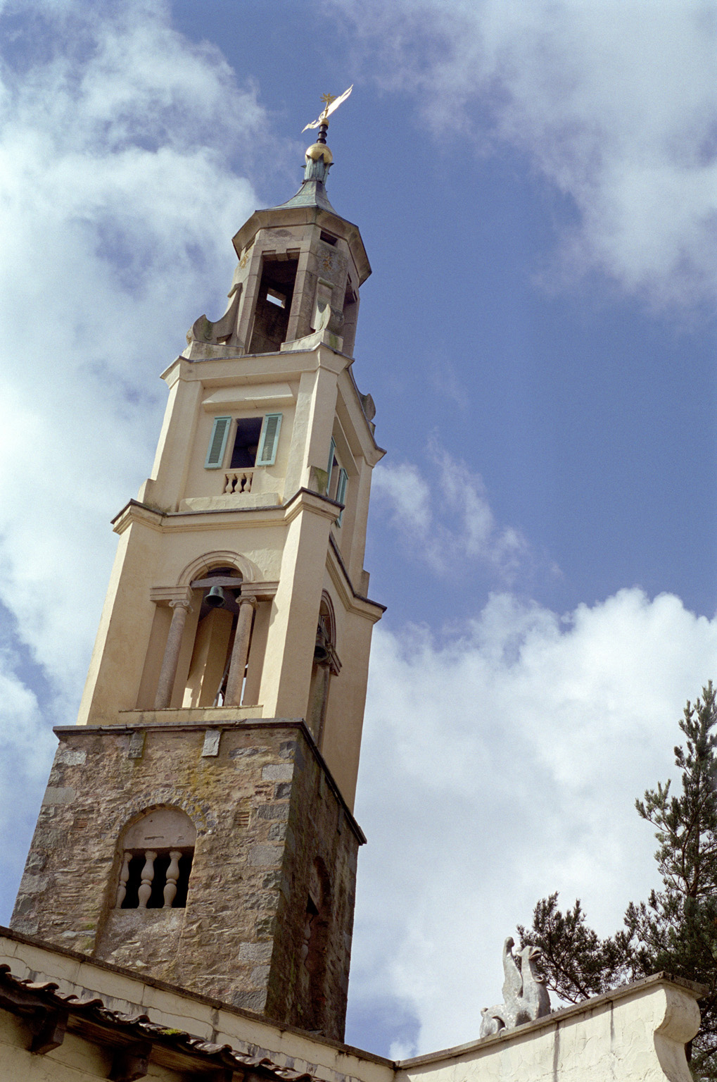 Exterior View of Famous Architectural Portmeirion Bell Tower in Gwenydd, Welsh, UK