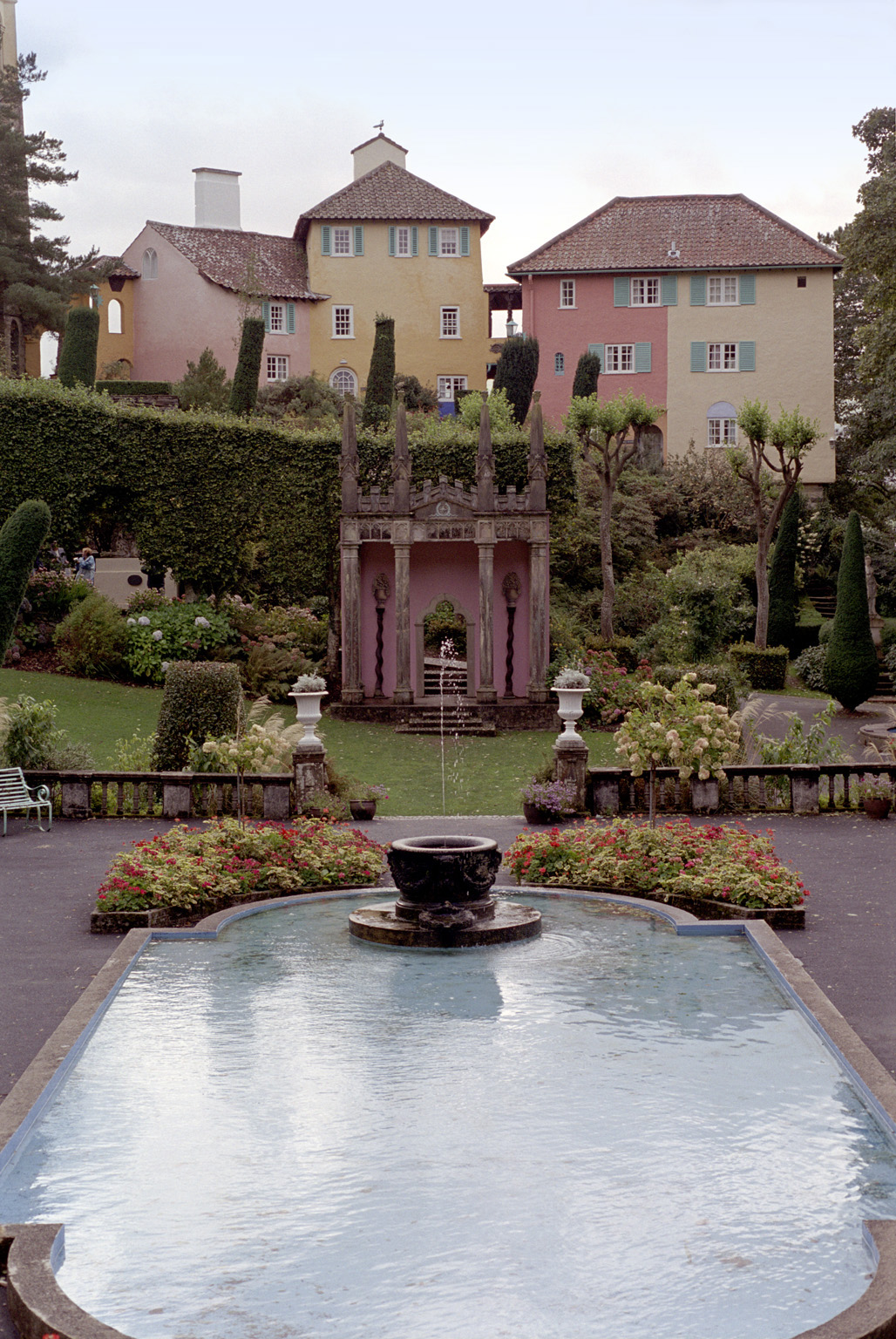 Pond and buildings in Portmeirion, North wales, a quaint picturesque village modeled on Italian architecture and a popular tourist attraction