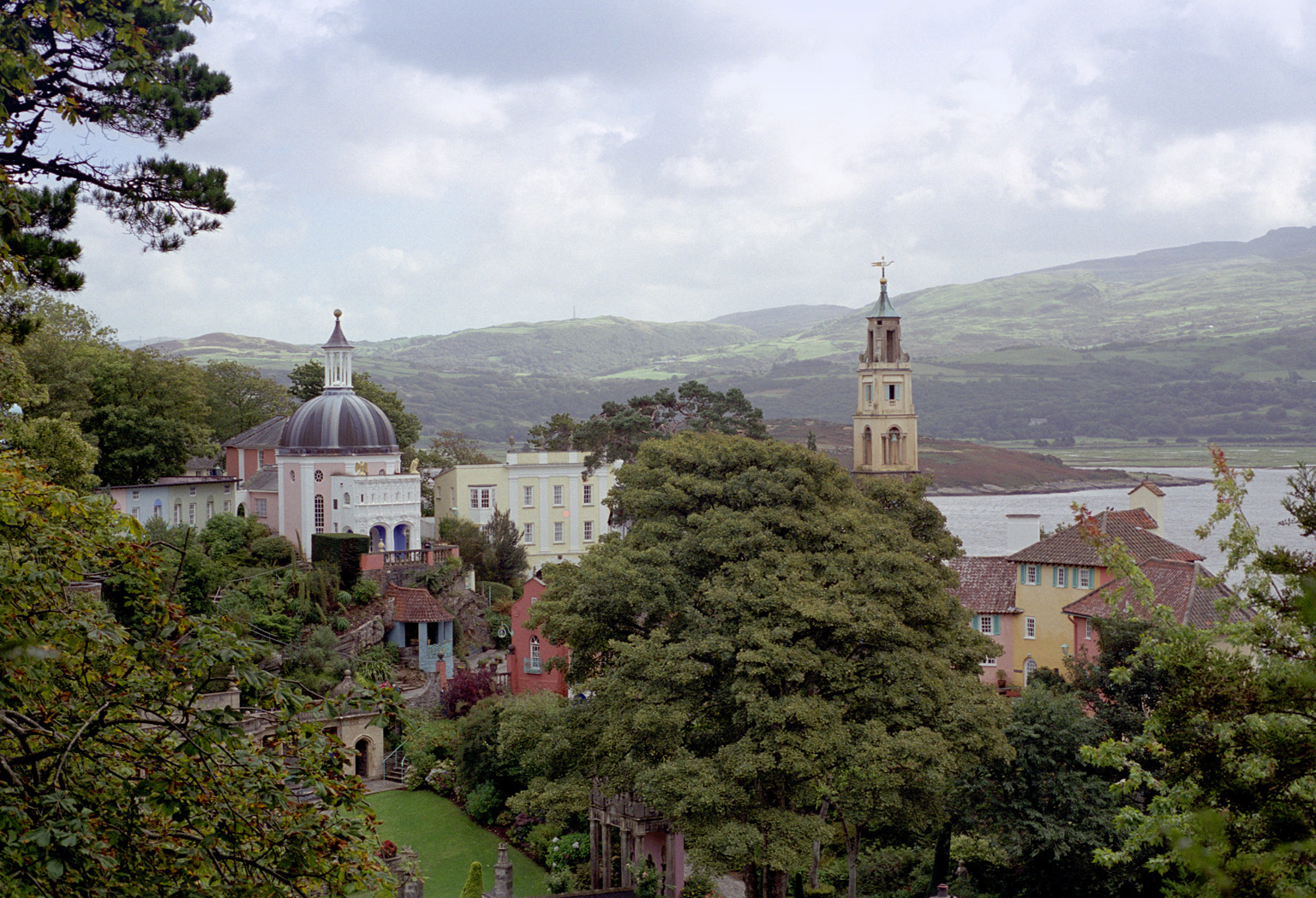 View of Portmeirion, Gwynedd, Wales, a popular tourist village modelled on an Italian town designed built by Sir Clough Williams-Ellis