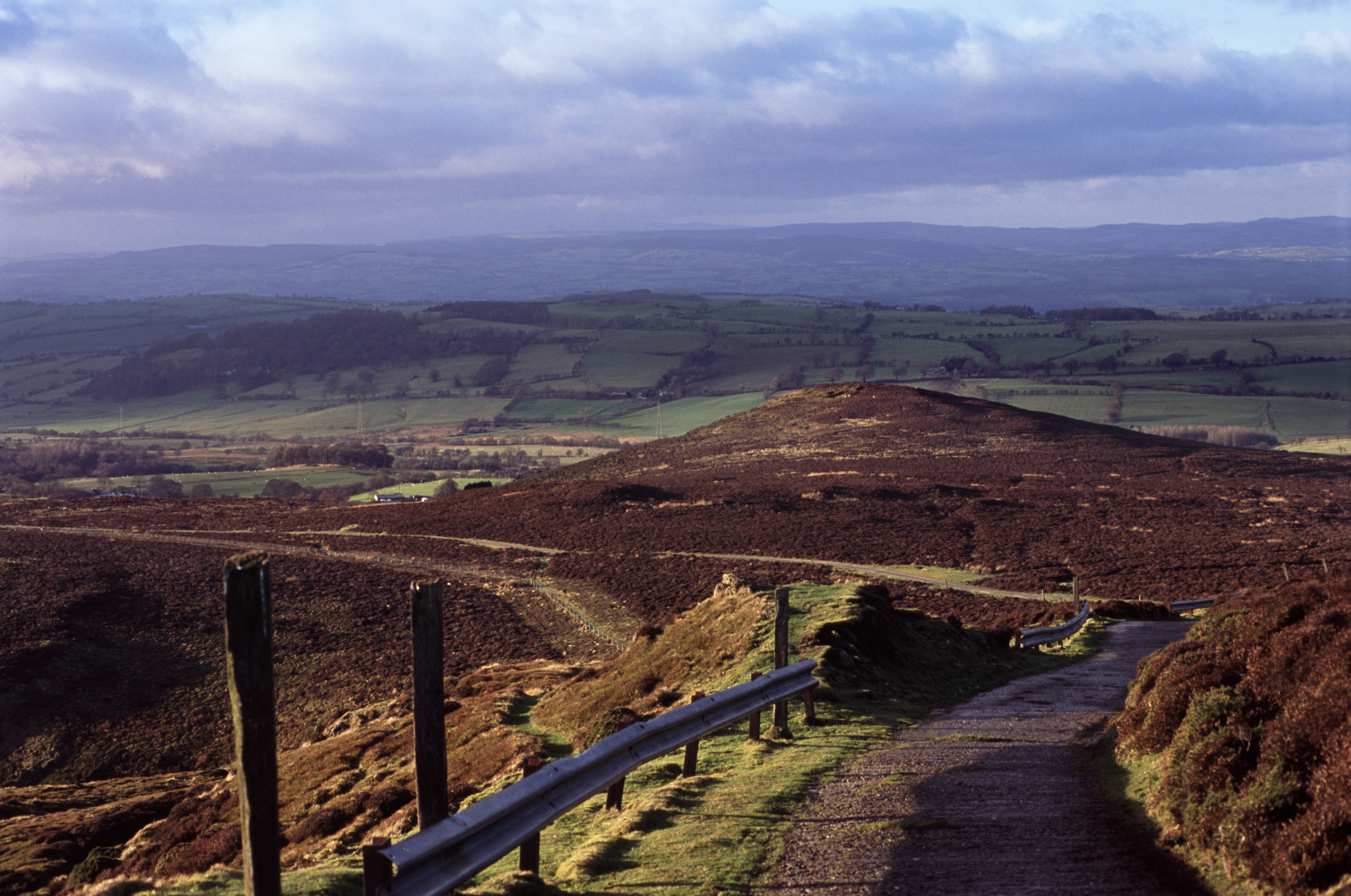 a section of road around the horseshoe pass, north wales