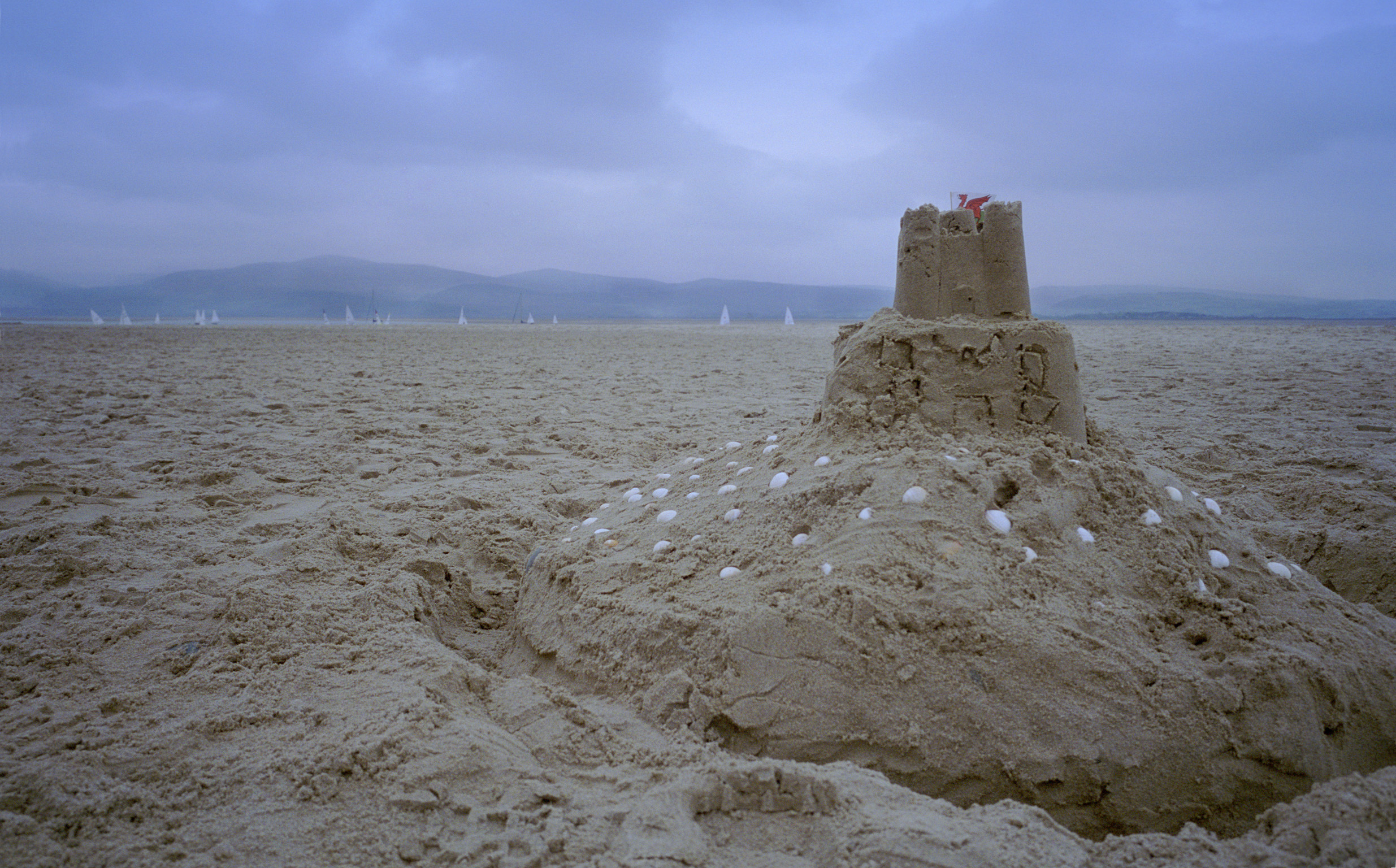 Close Up of Sand Castle on Overcast Beach