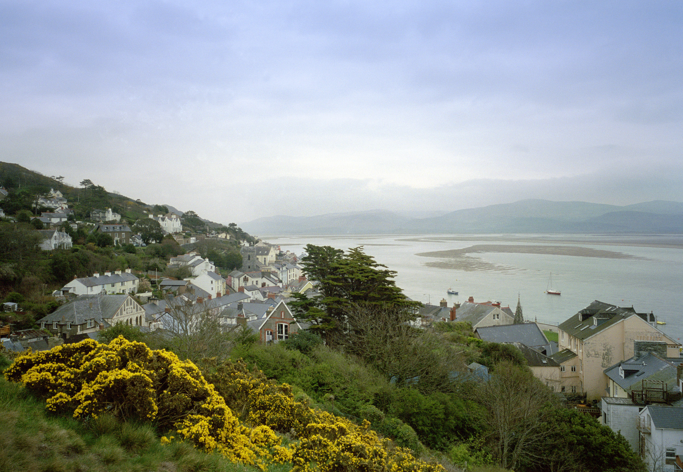 Hillside Overview of Coastal Aberdovey Village, Gwynedd, Wales