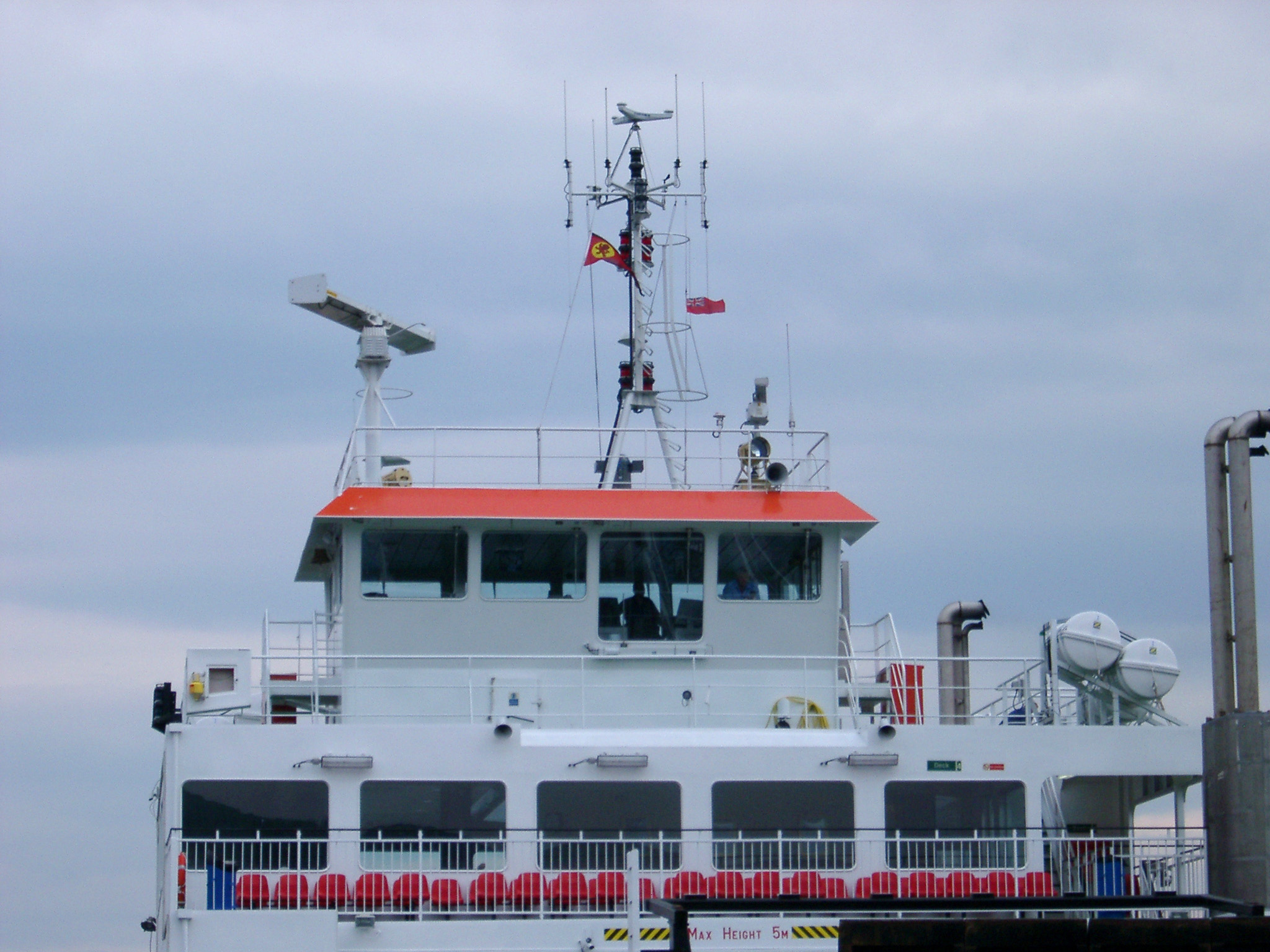 Bridge and navigation equipment of a ferry in the Hebrides, Scotland providing inter island transport for island hopping