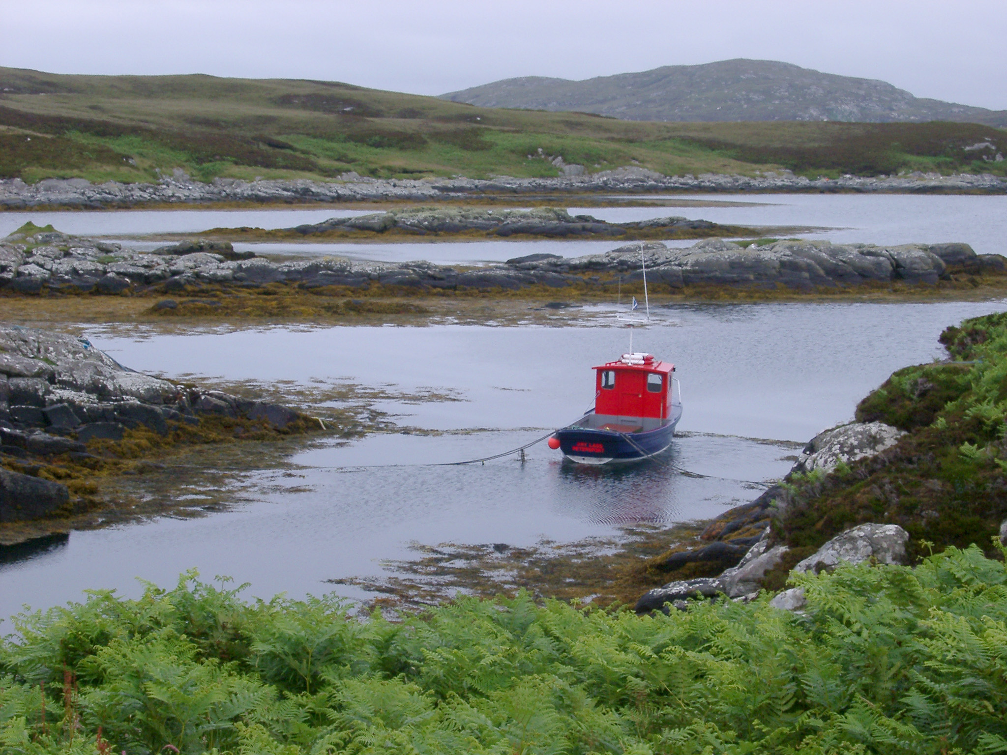 Small fishing boat moored in a sheltered inlet surrounded by seaweed on the Hebrides, Scotland