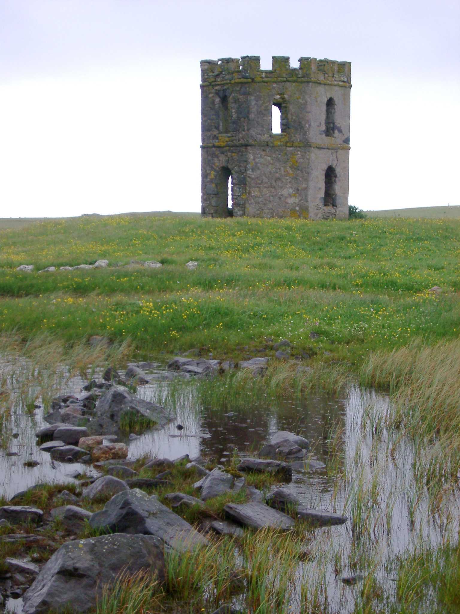 Historical Scolpaig Tower on Isle of North Uist, Outer Hebrides, Scotland