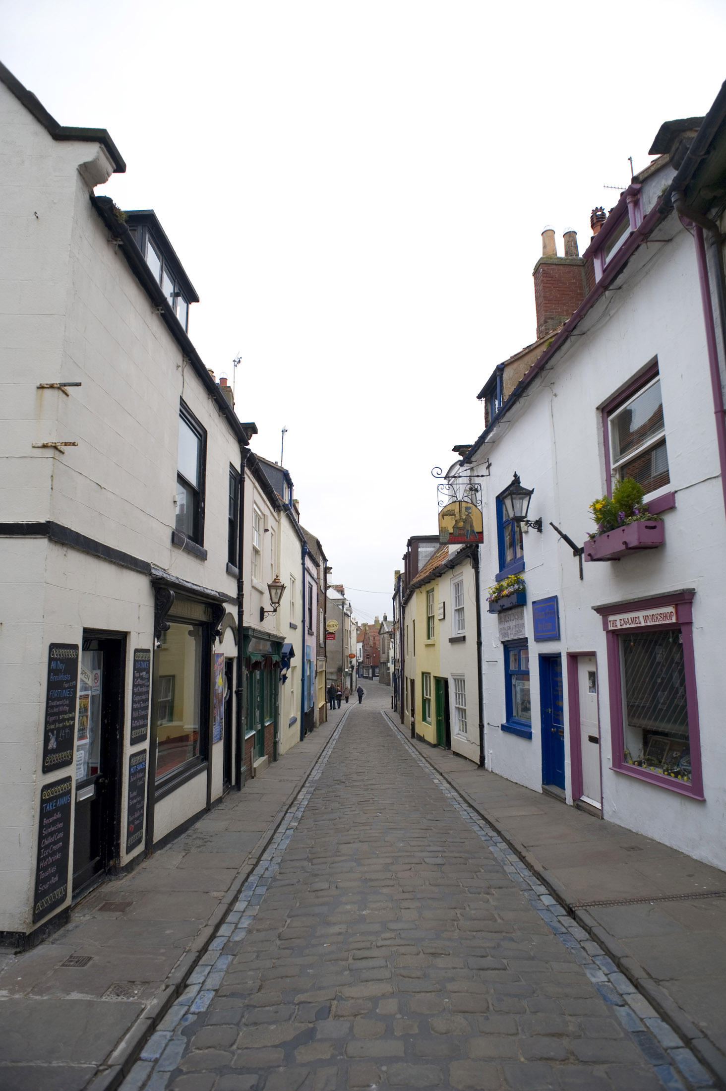 a view of whitbys narrow church street from tate hill