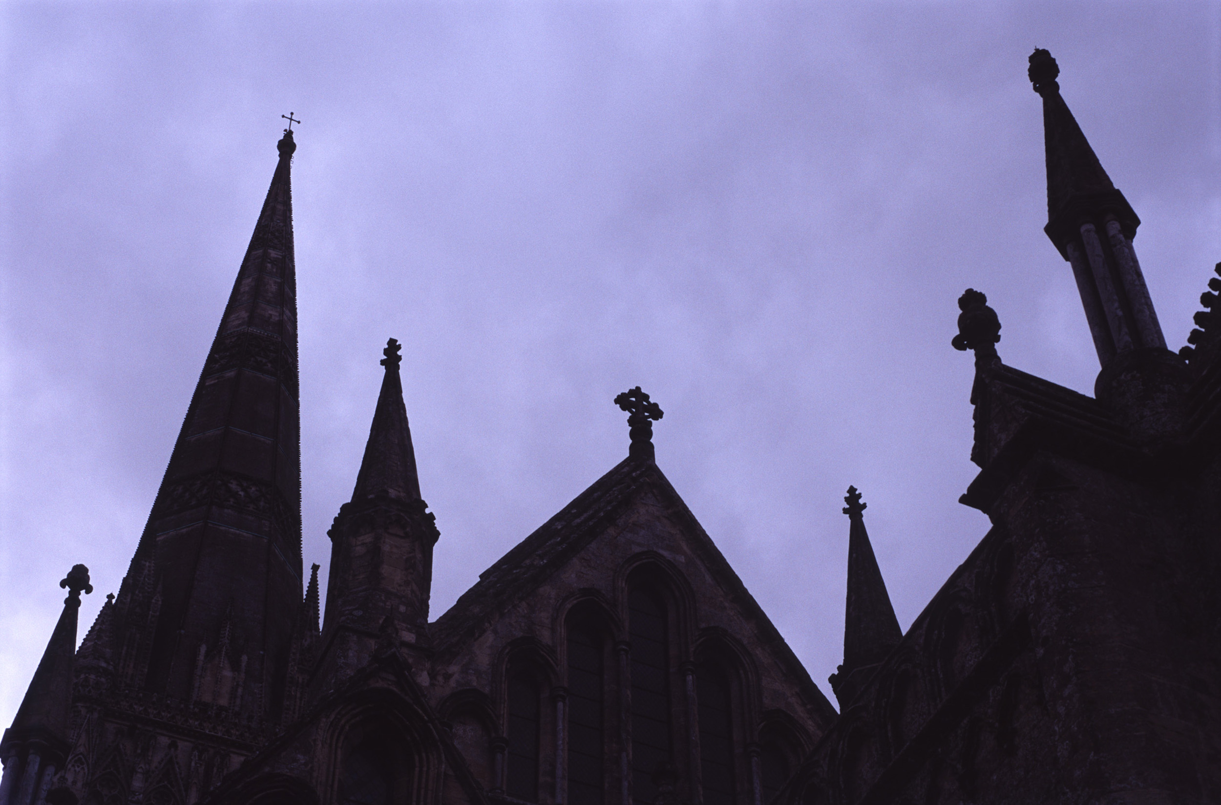 salisbury cathedral in silhouette