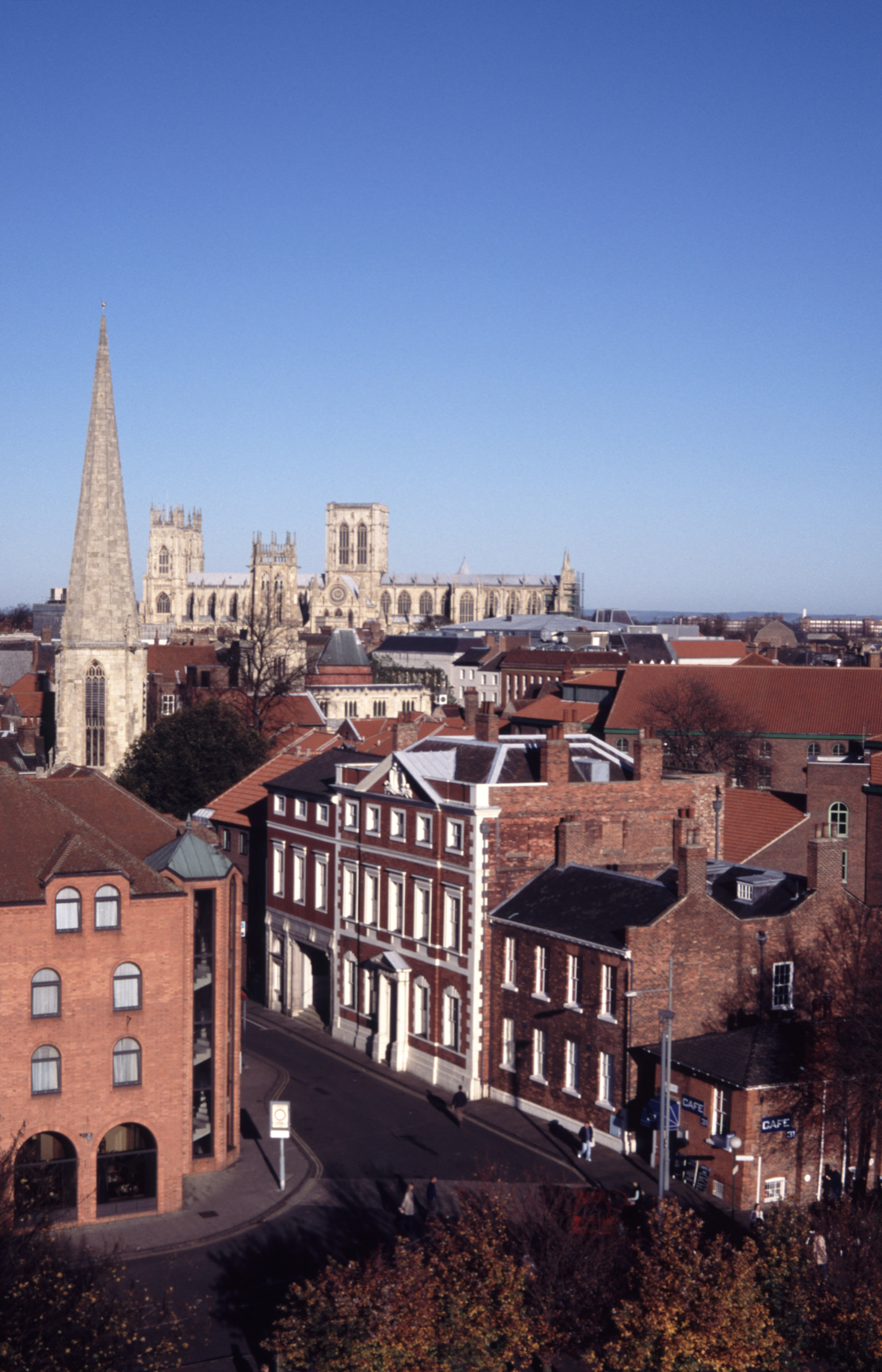 Rooftop Skyline with View of York Minster Cathedral in Distance, York, England