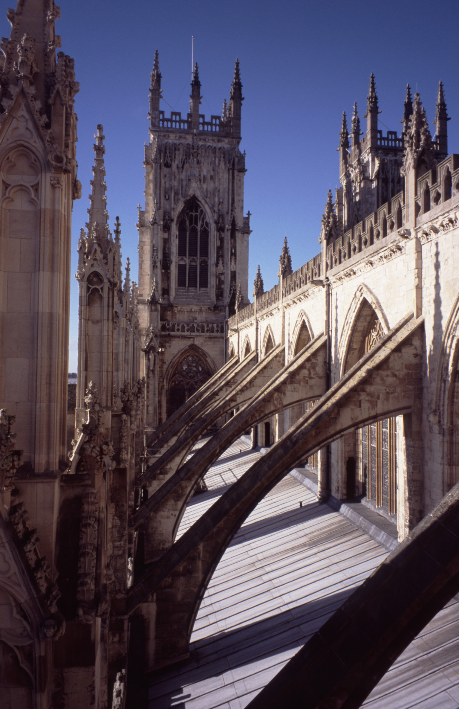 Flying Buttresses at Famous Historic York Minister Cathedral with Architectural Design, Located in York, England.