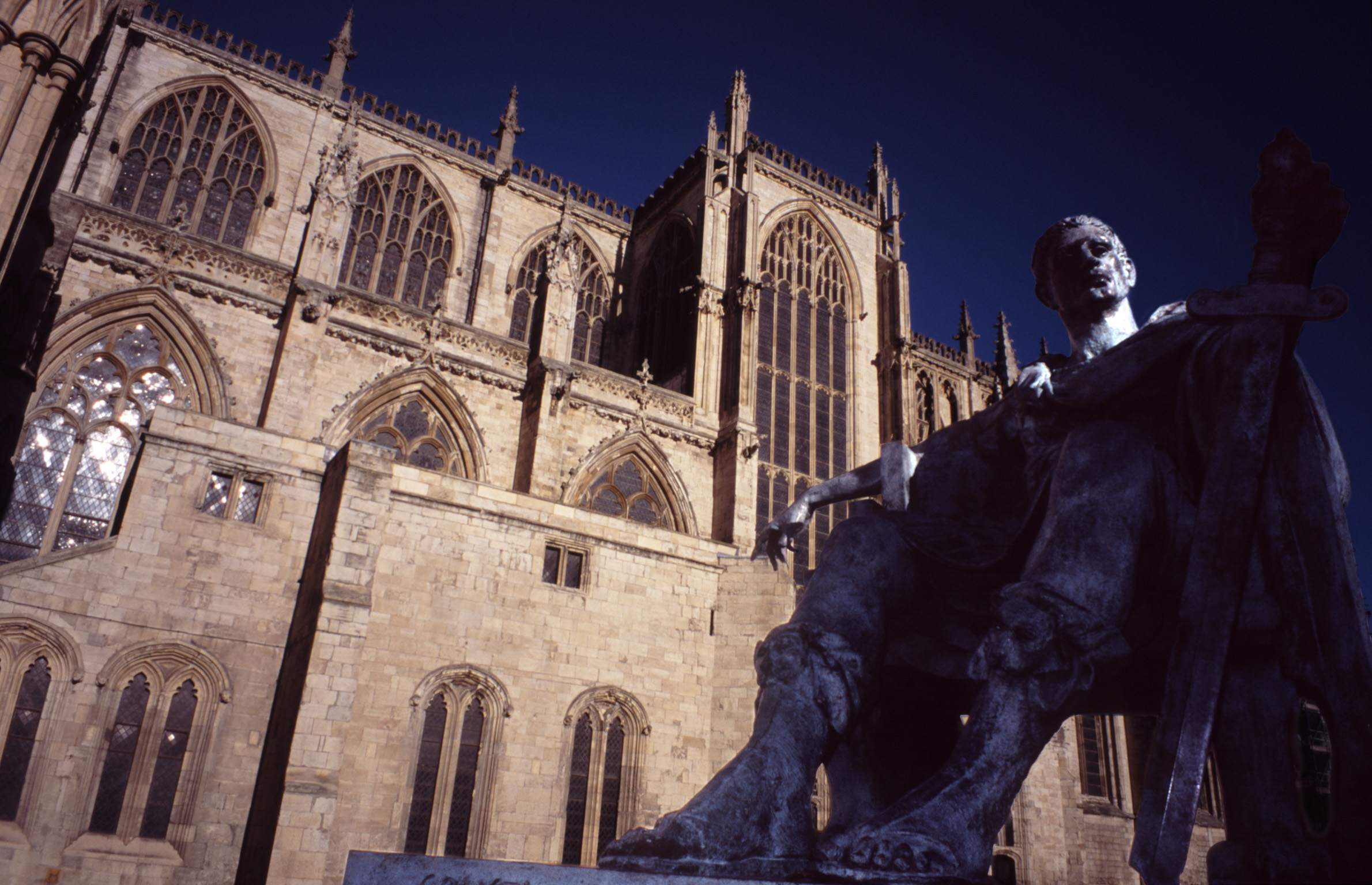 Low Angle Close Up of Statue of Constantine the Great Outside York Minster Cathedral, York, England