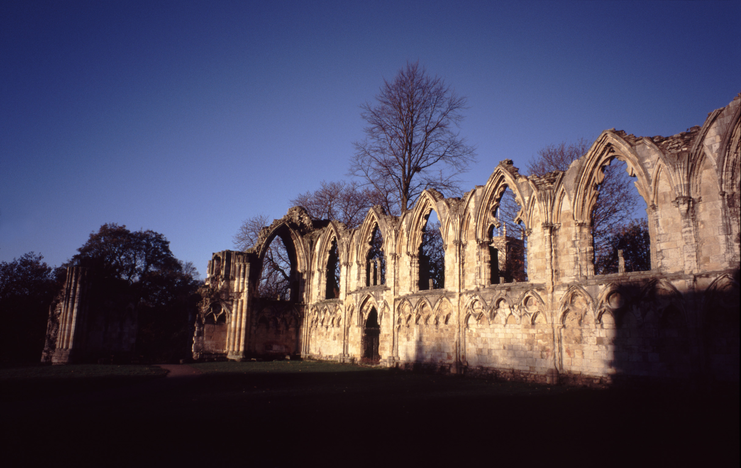 Ruins of St Mary's Abbey, a Famous Landmark in York, England. Captured at Sun Down Time.