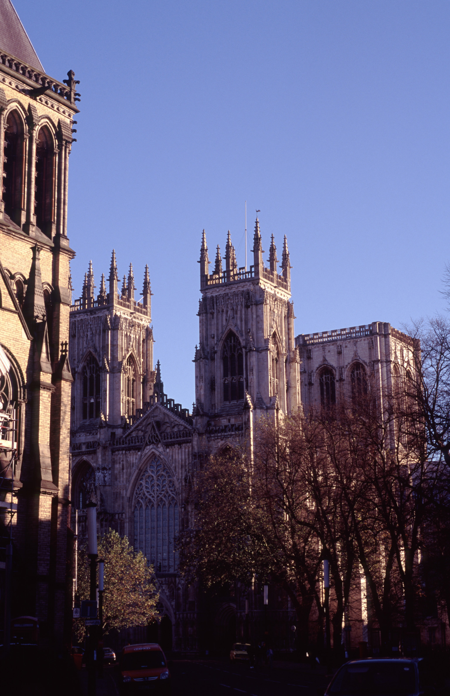 Exterior of Facade of York Minster Cathedral at Dusk, York, England
