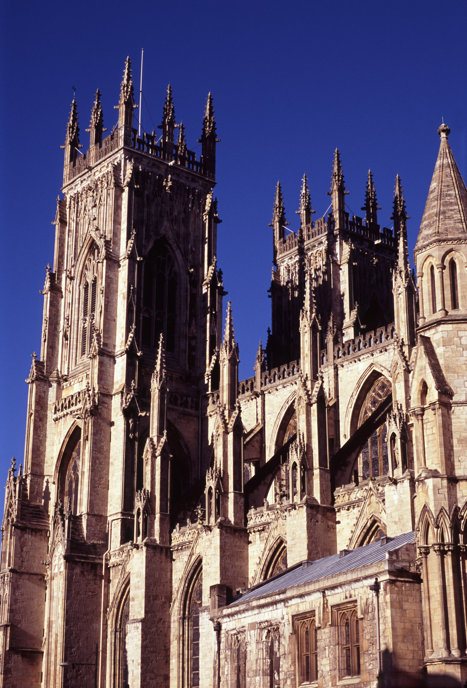 A view of York Minster, largest gothic cathedral in northern europe