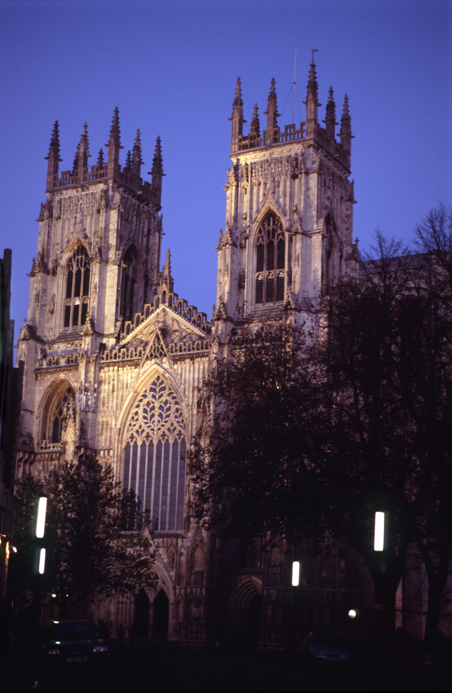 Exterior of Facade of Illuminated York Minster Cathedral in the Evening, York, England