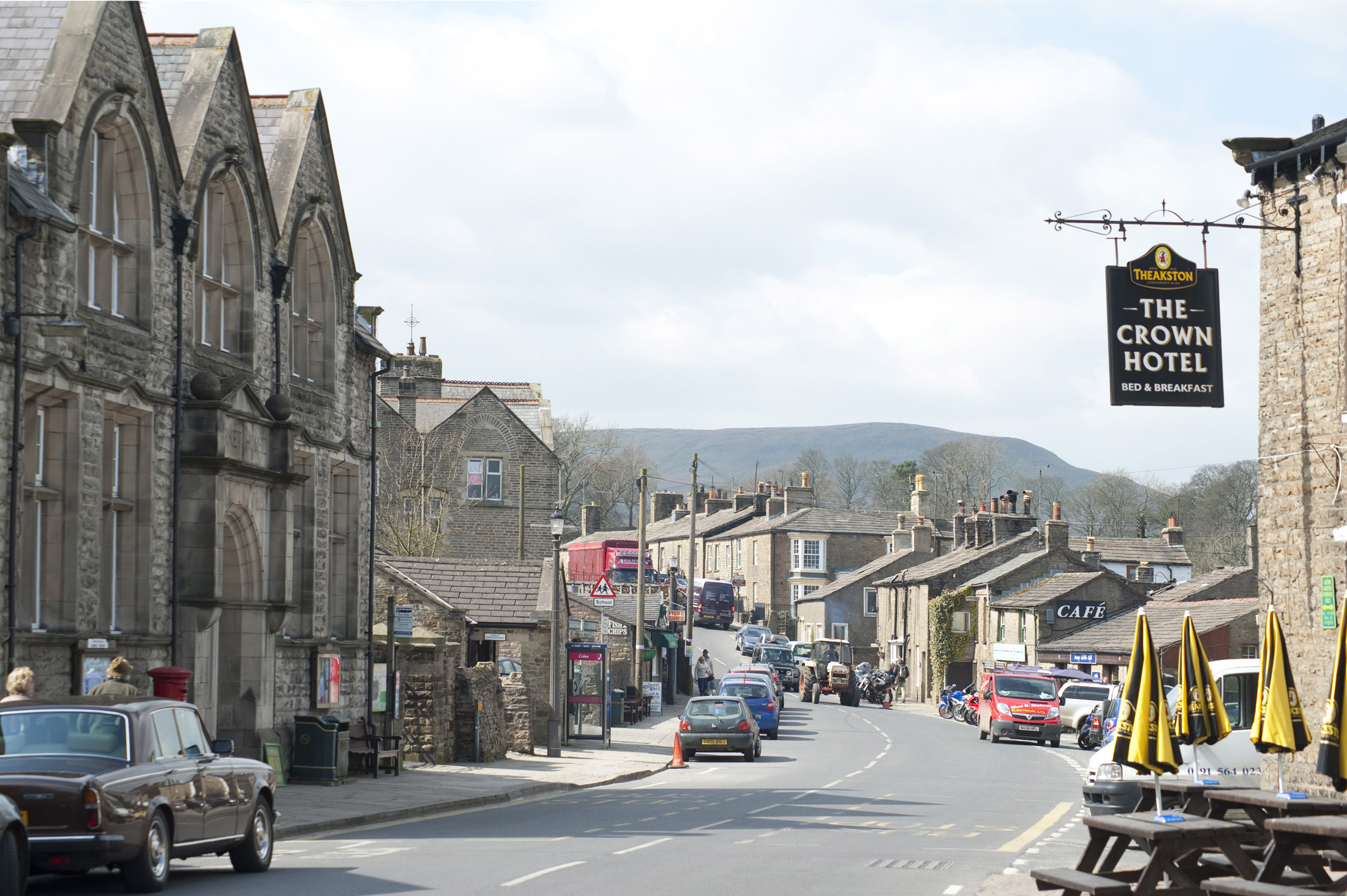 the main street running through the yorkshire dales village of hawes