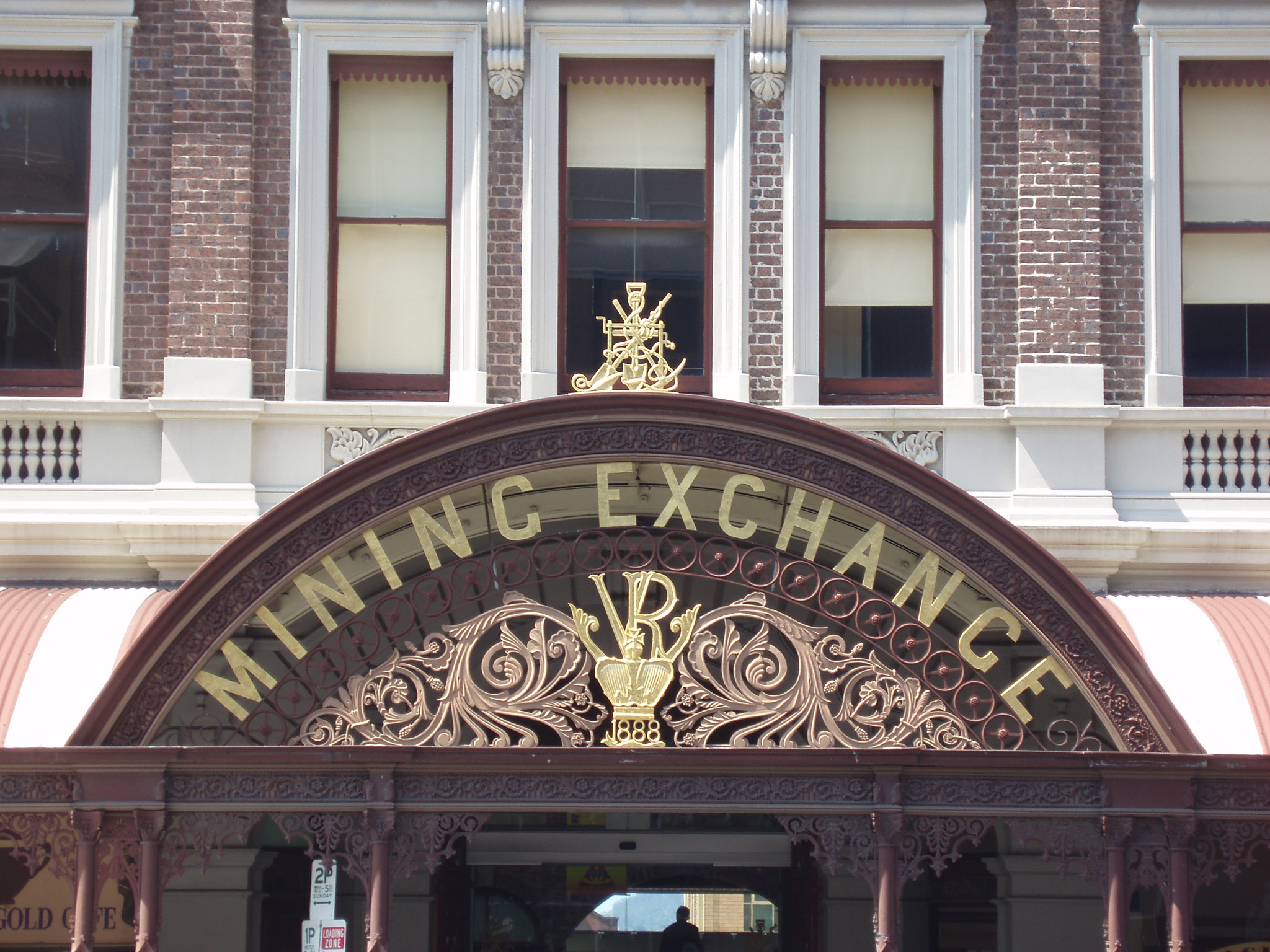 Close up Famous Ballarat Gold Exchange Vintage Building Front Signage in Victoria.
