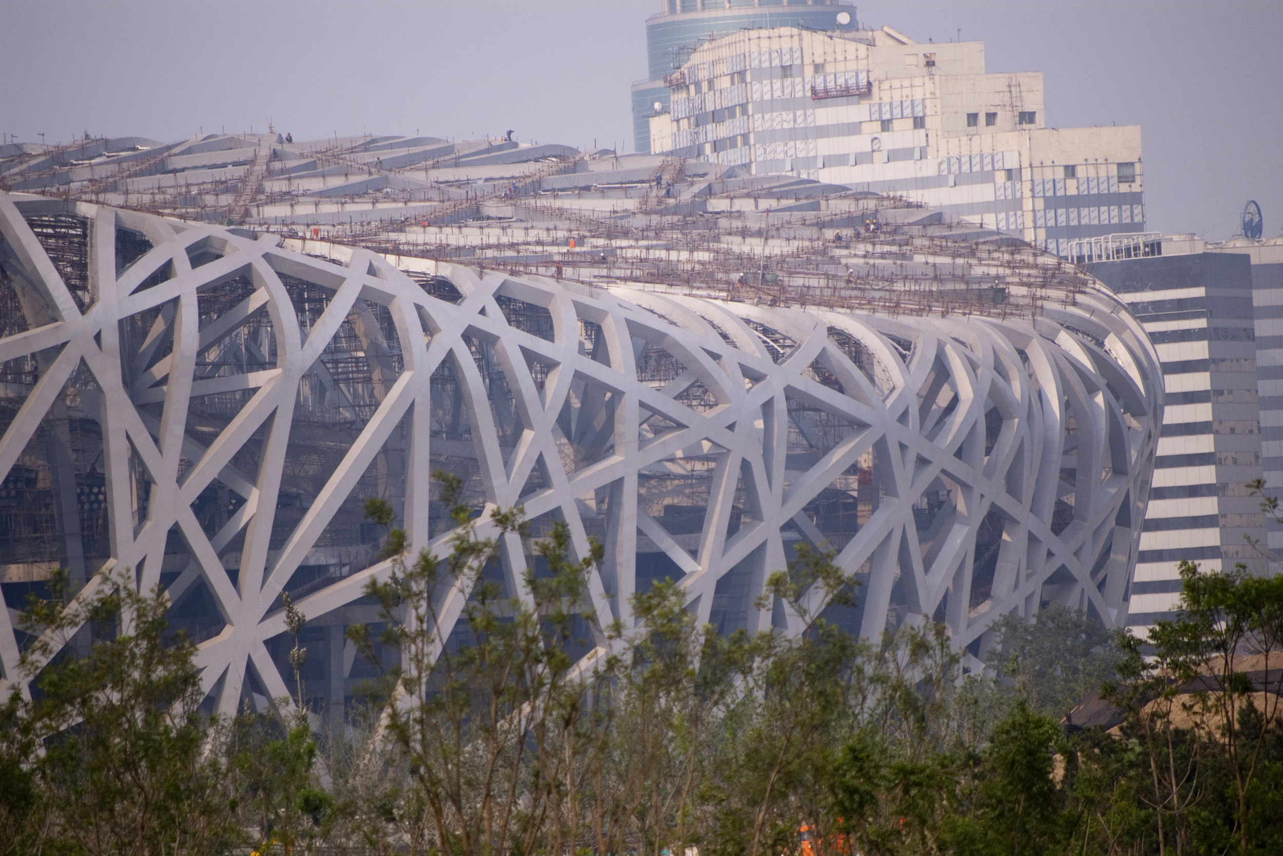 Exterior view of the Birds-nest olympic stadium in Beijing China with its intricate structure and landmark design
