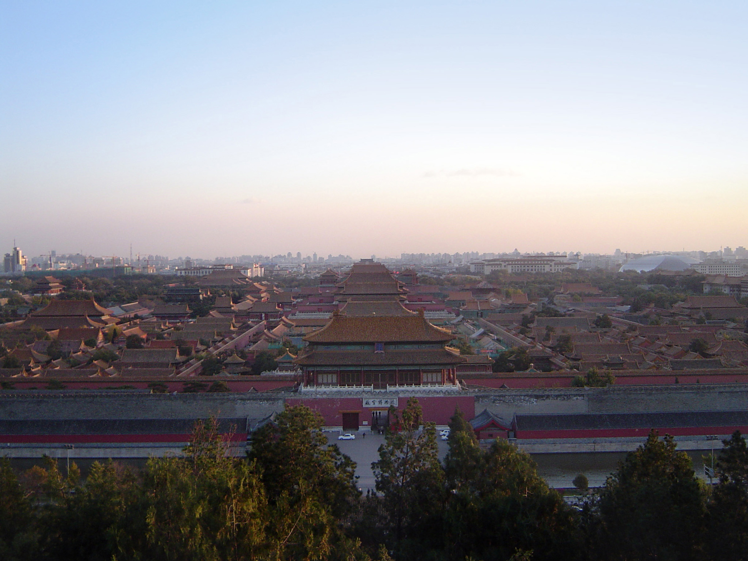 Aerial View of Famous Architectural Famous Forbidden City, a Chinese Imperial Palace, in Beijing China