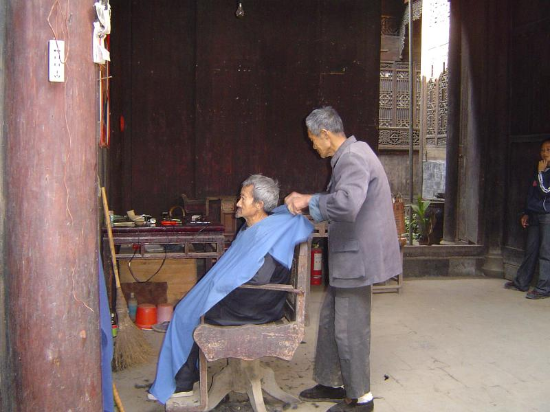 Free Stock Photo Of Old Chinese Barber And Customer