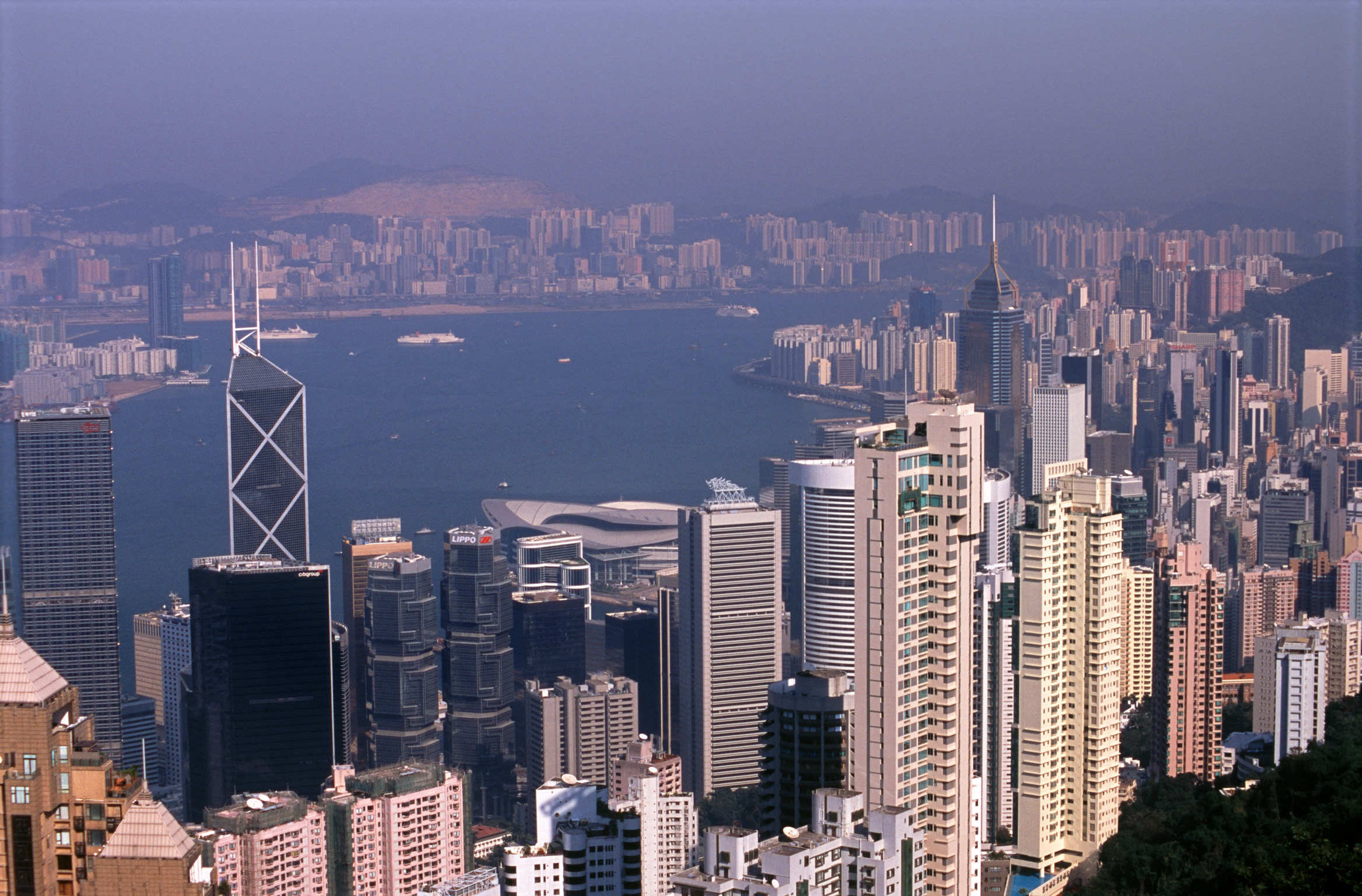 Overview of Hong Kong from Victoria Peak on Hazy Day, Hong Kong, China