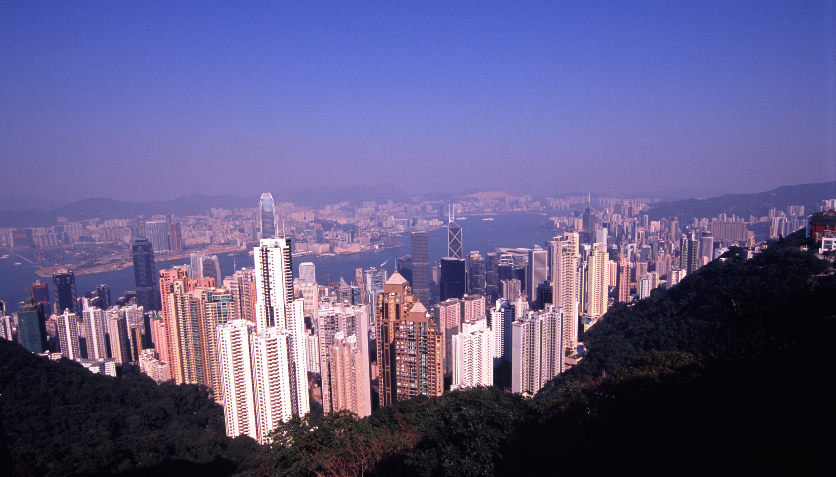 Panorama View of Architectural Highrise Buildings in the City of Hong Kong, China.