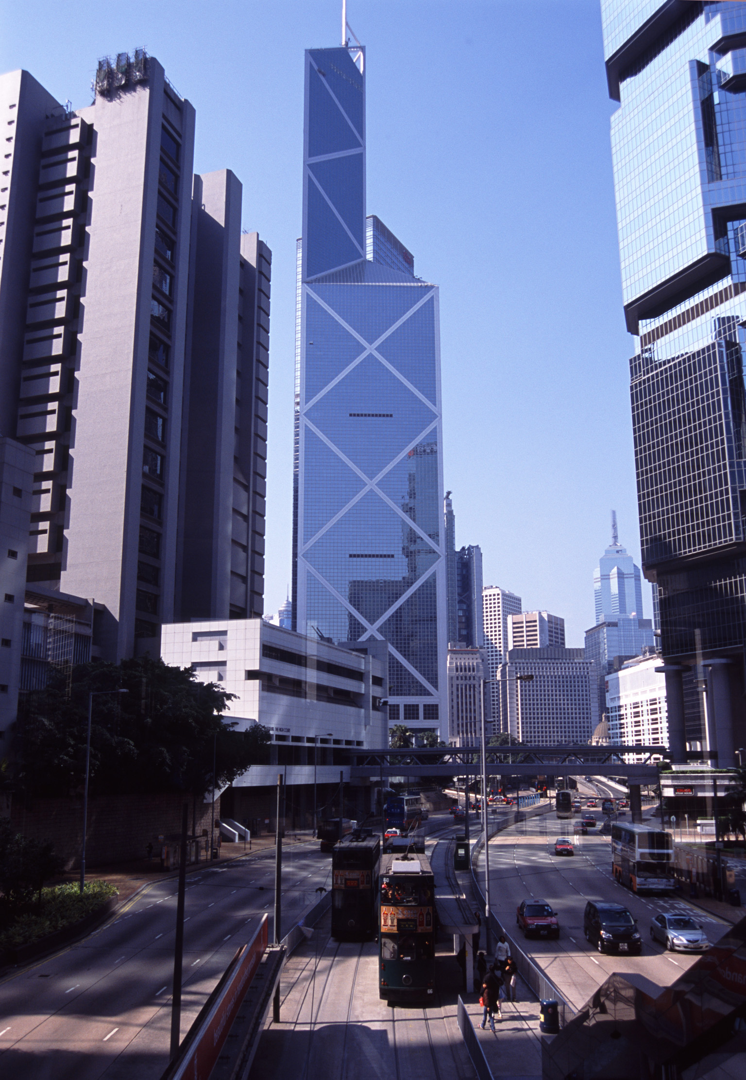 Day Light City View at Hong Kong China with High Architectural Towers, Cars and Trams.