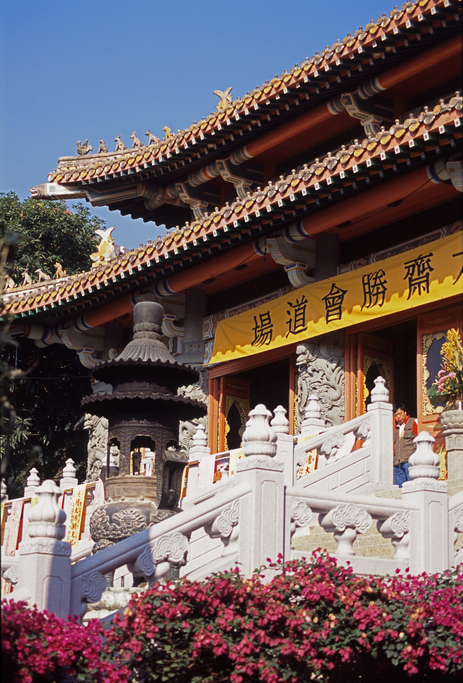 Architectural Exterior Design of Vintage Buddhist Temple Building in China.