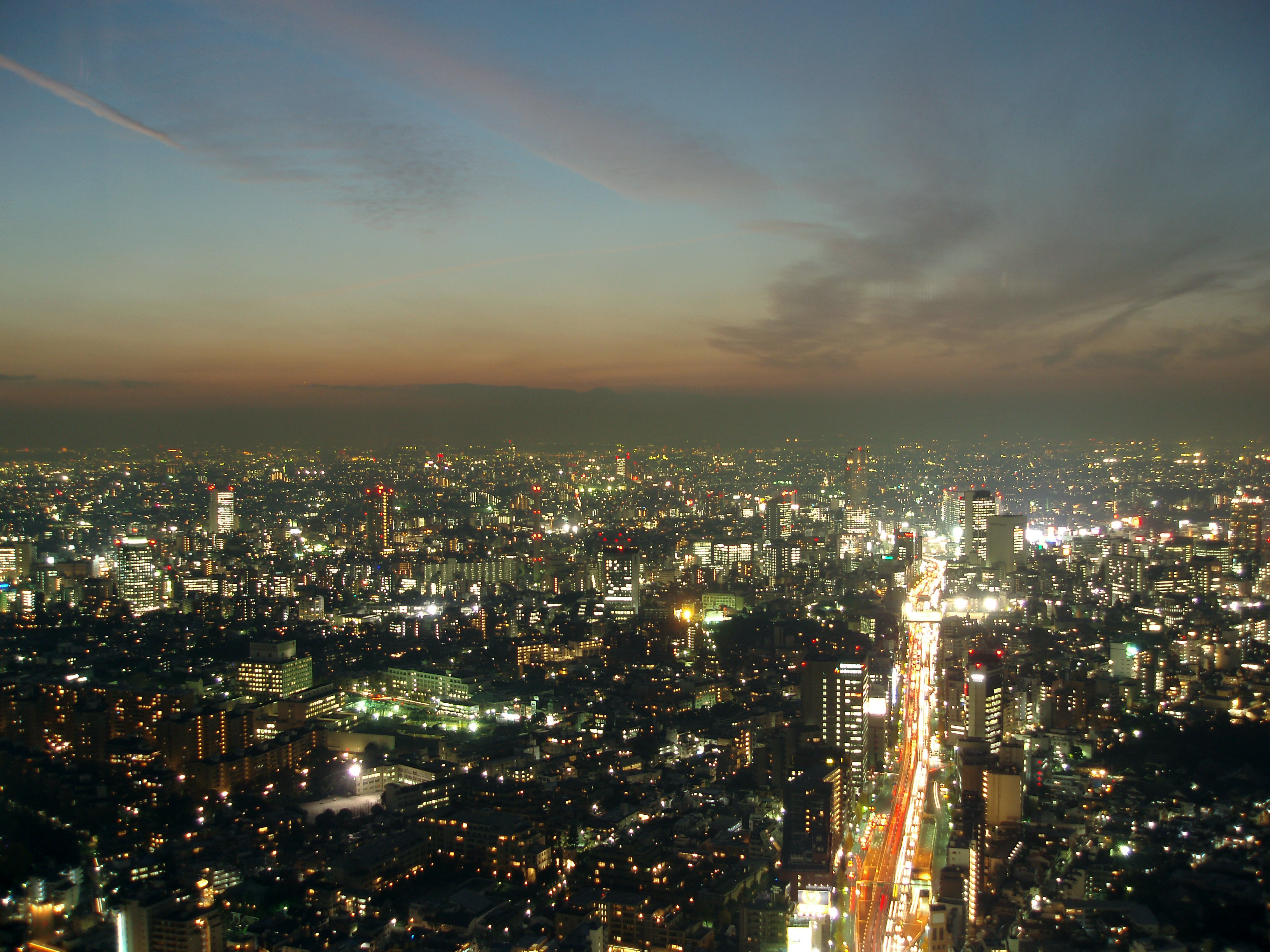 a spectacular view of tokyo at night, colourful lights and a dusky sky
