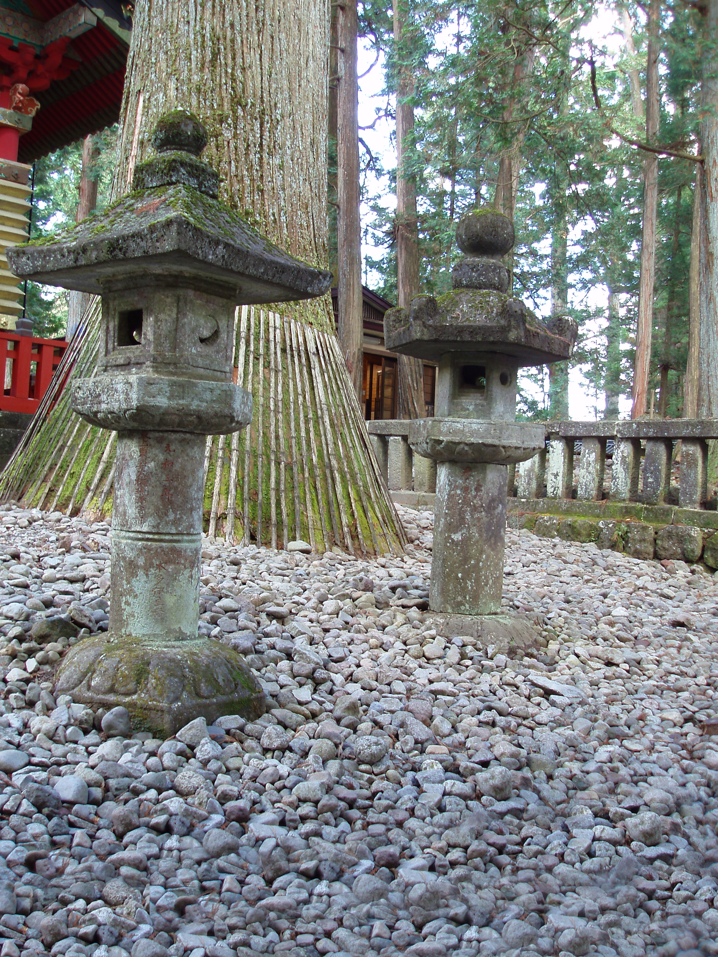 some of the many stone doro at the temple complex, nikko japan