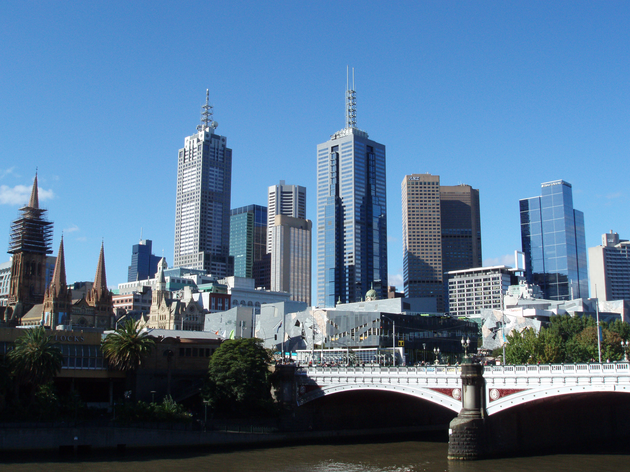 Architectural High Rise Buildings at Melbourne Central Business District Skyline on Light Blue Sky Background.