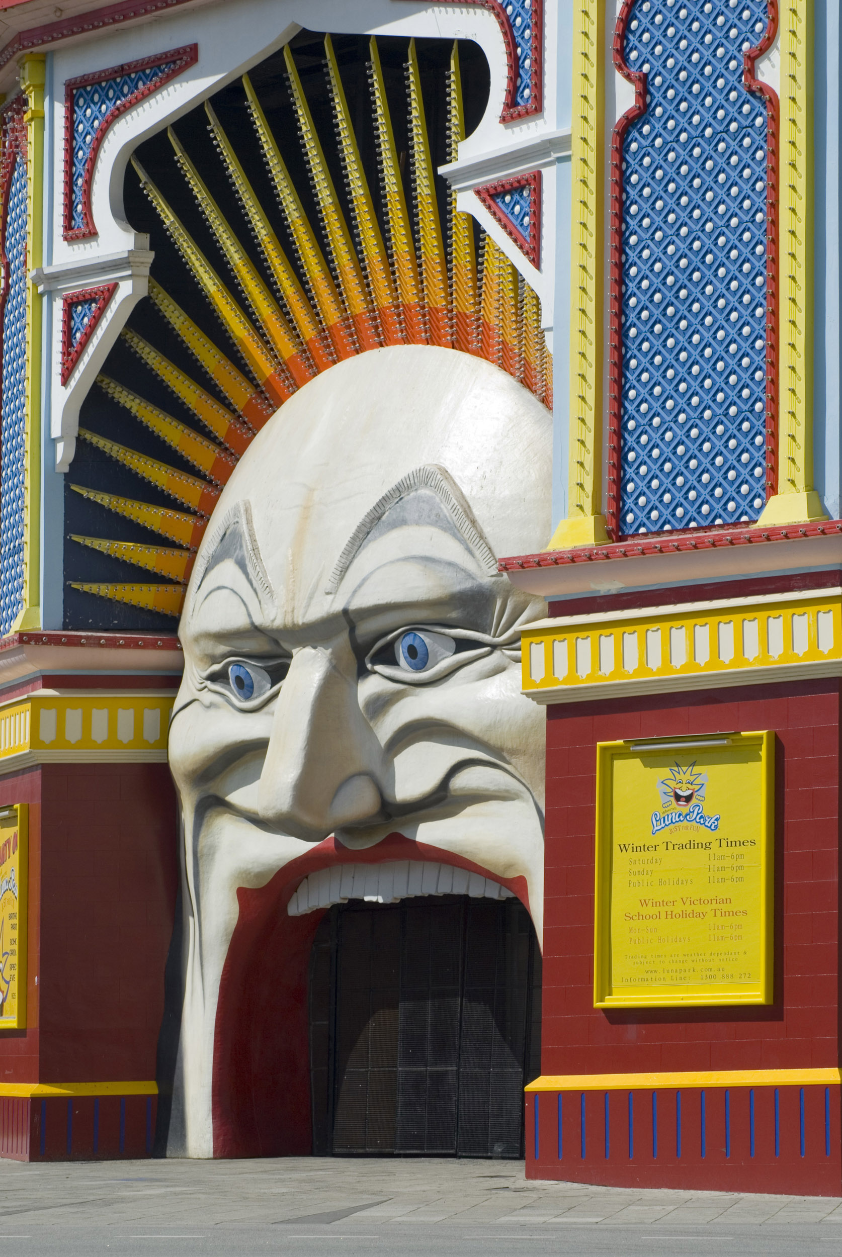 The colourful clown mouth entrance to Luna Park with no people in Melbourne, Australia.
