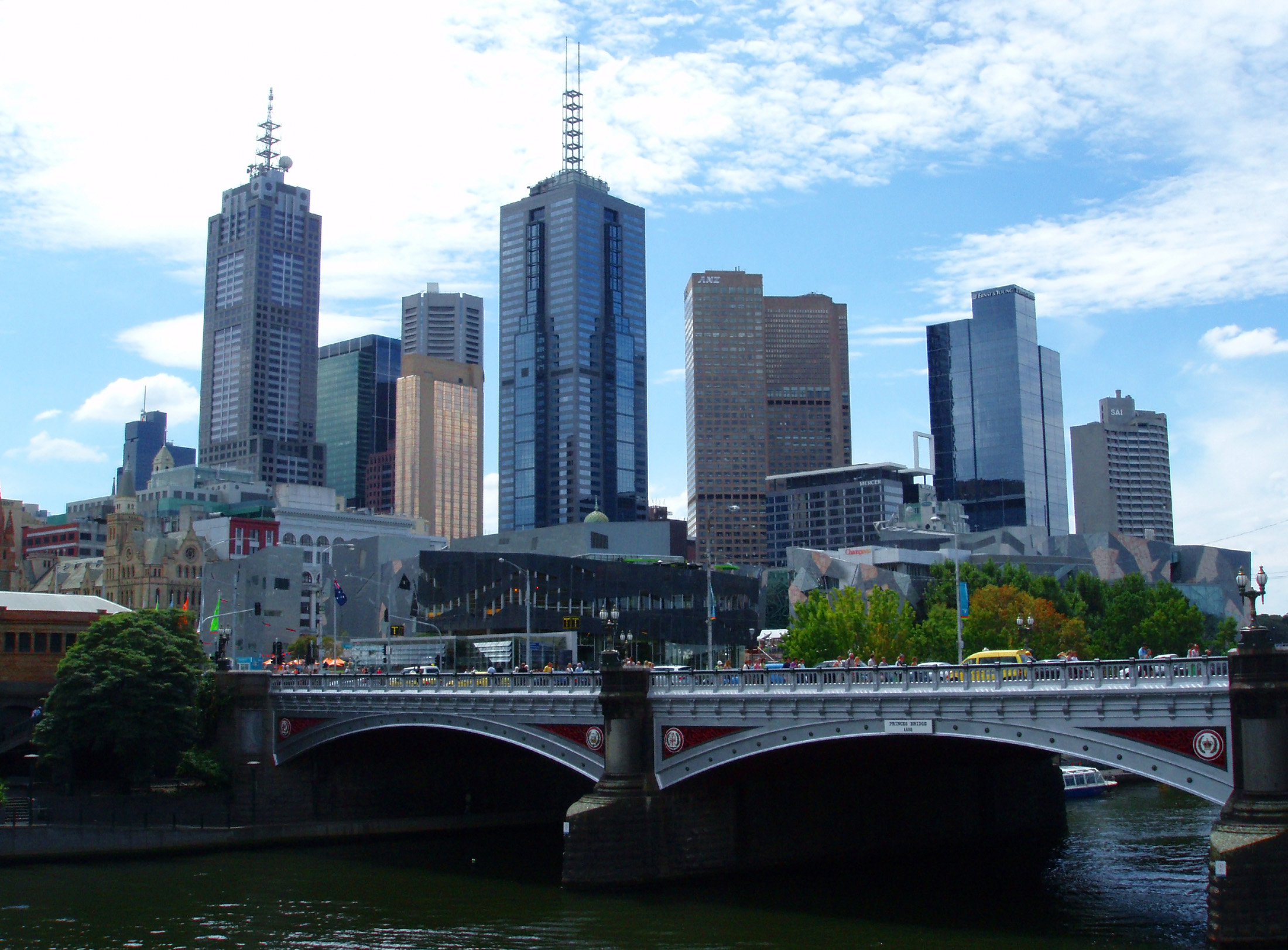 Vintage Princes Bridge at Yarra River with High Rise Buildings View in Melbourne Australia.