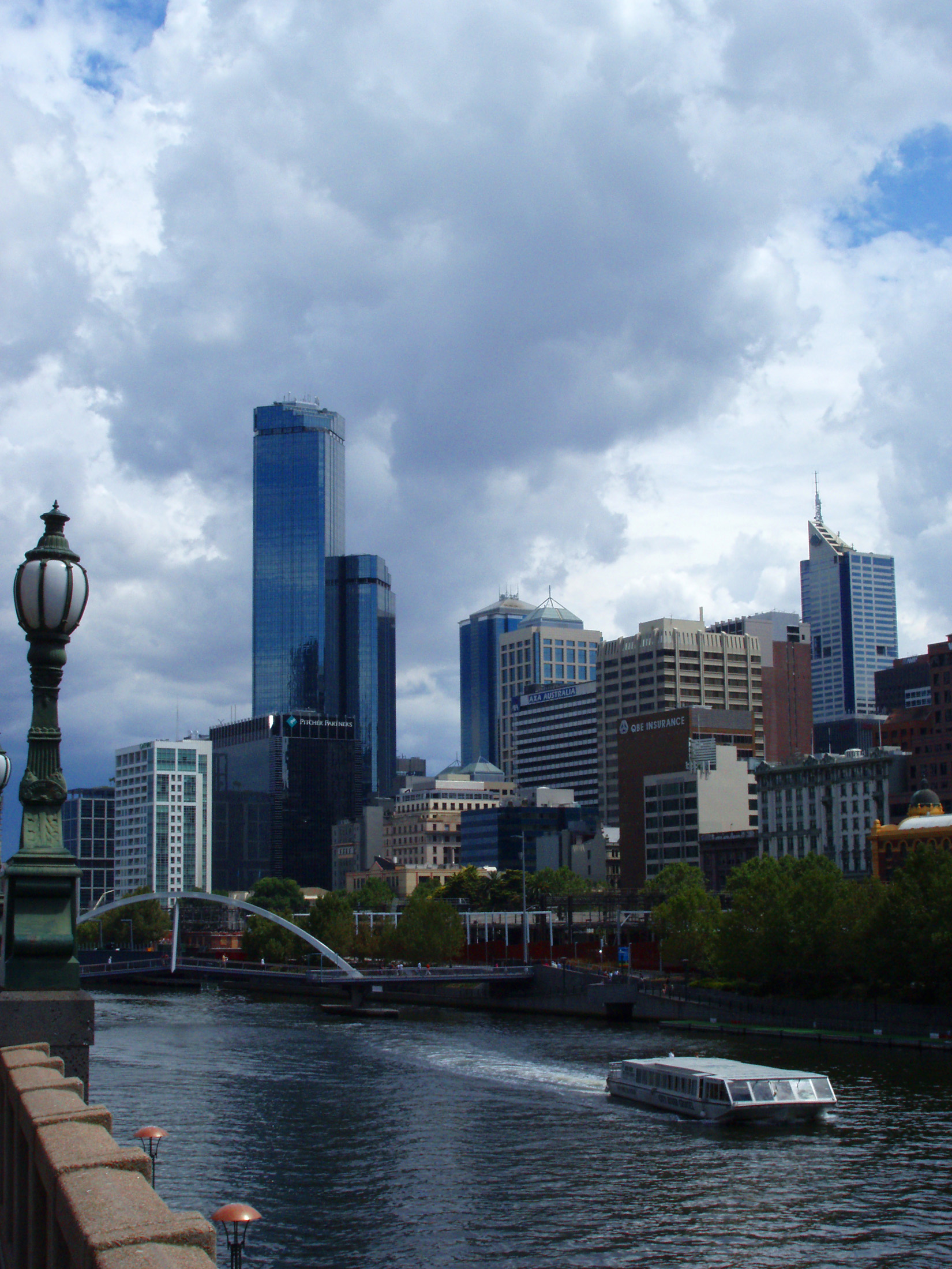 City View in Melbourne Australia with Yarra River Cruise and High Rise Buildings.