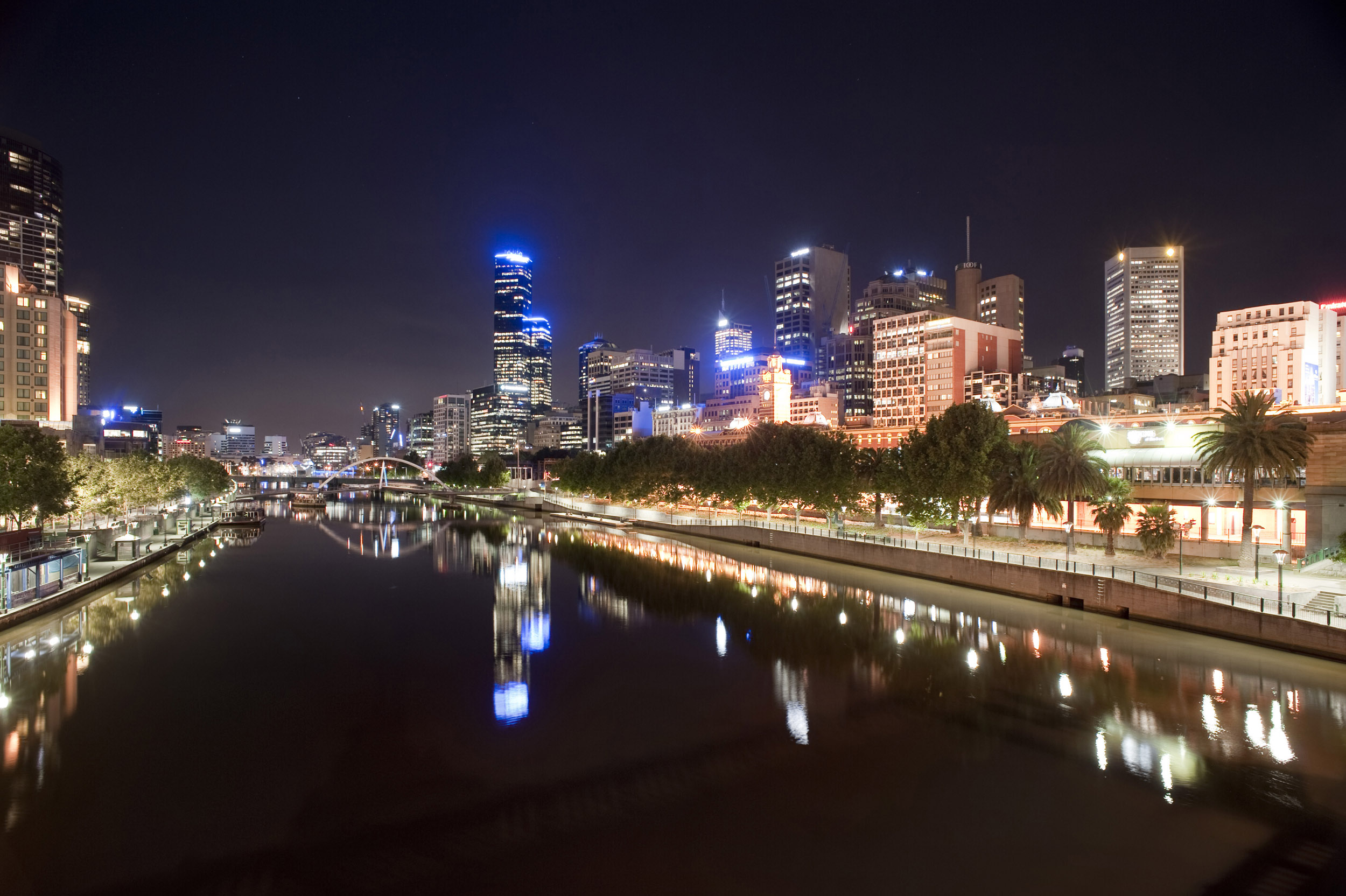 A beautiful view of Melbourne city night lights and the calm, tranquil Yarra river.