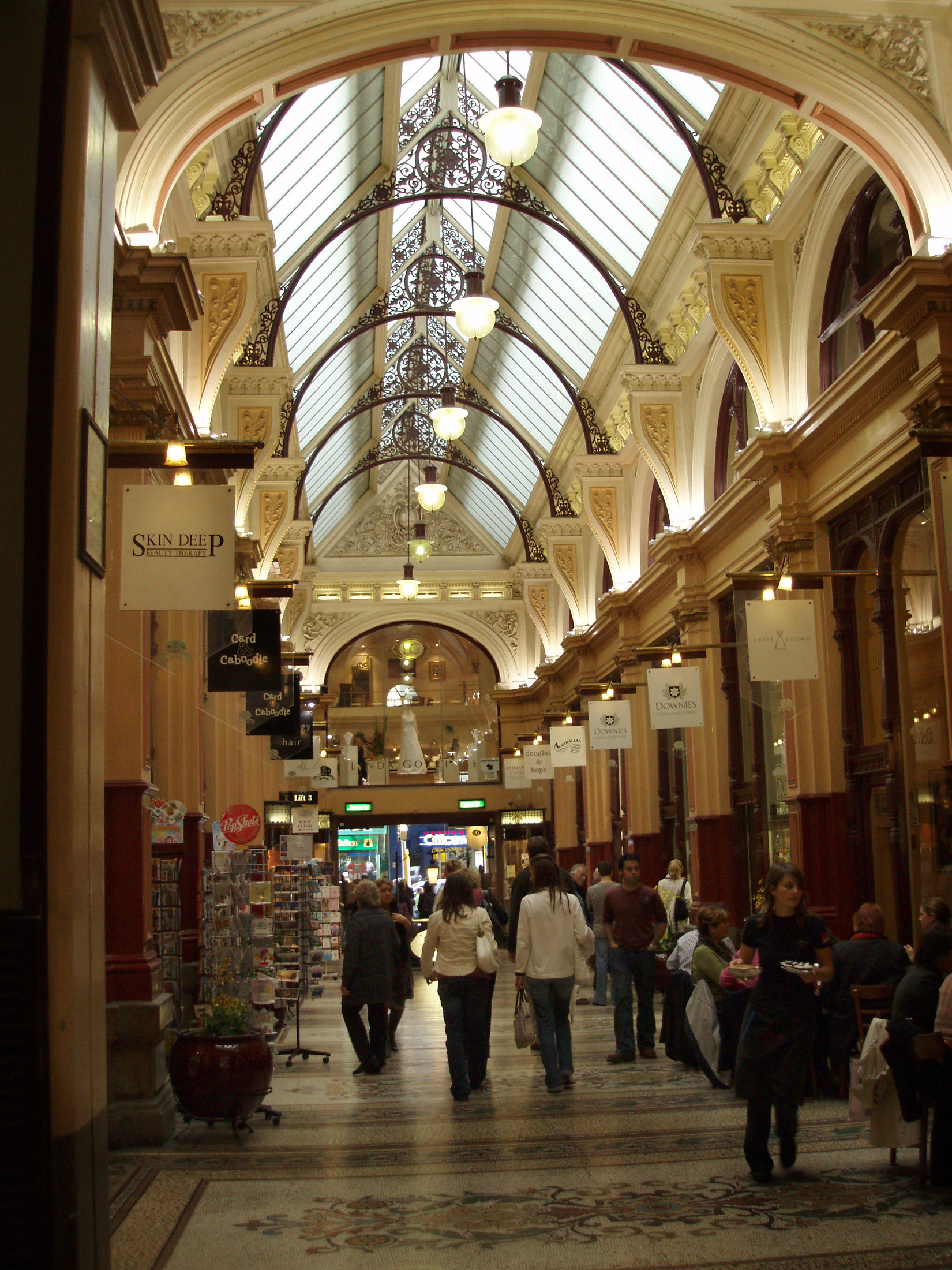 Elegant Architectural Interior of Royal Shopping Arcade with Random Shoppers in Central Melbourne, Australia