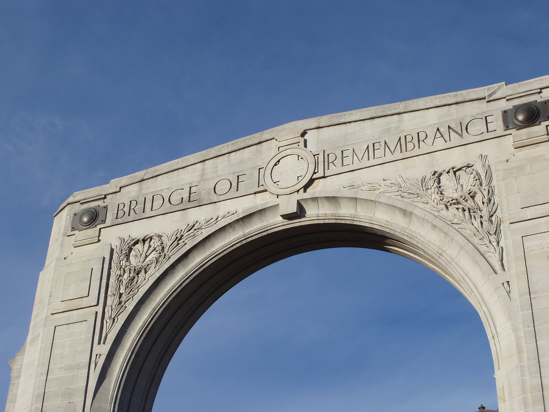 a low angle view of the memorial arch christchurch