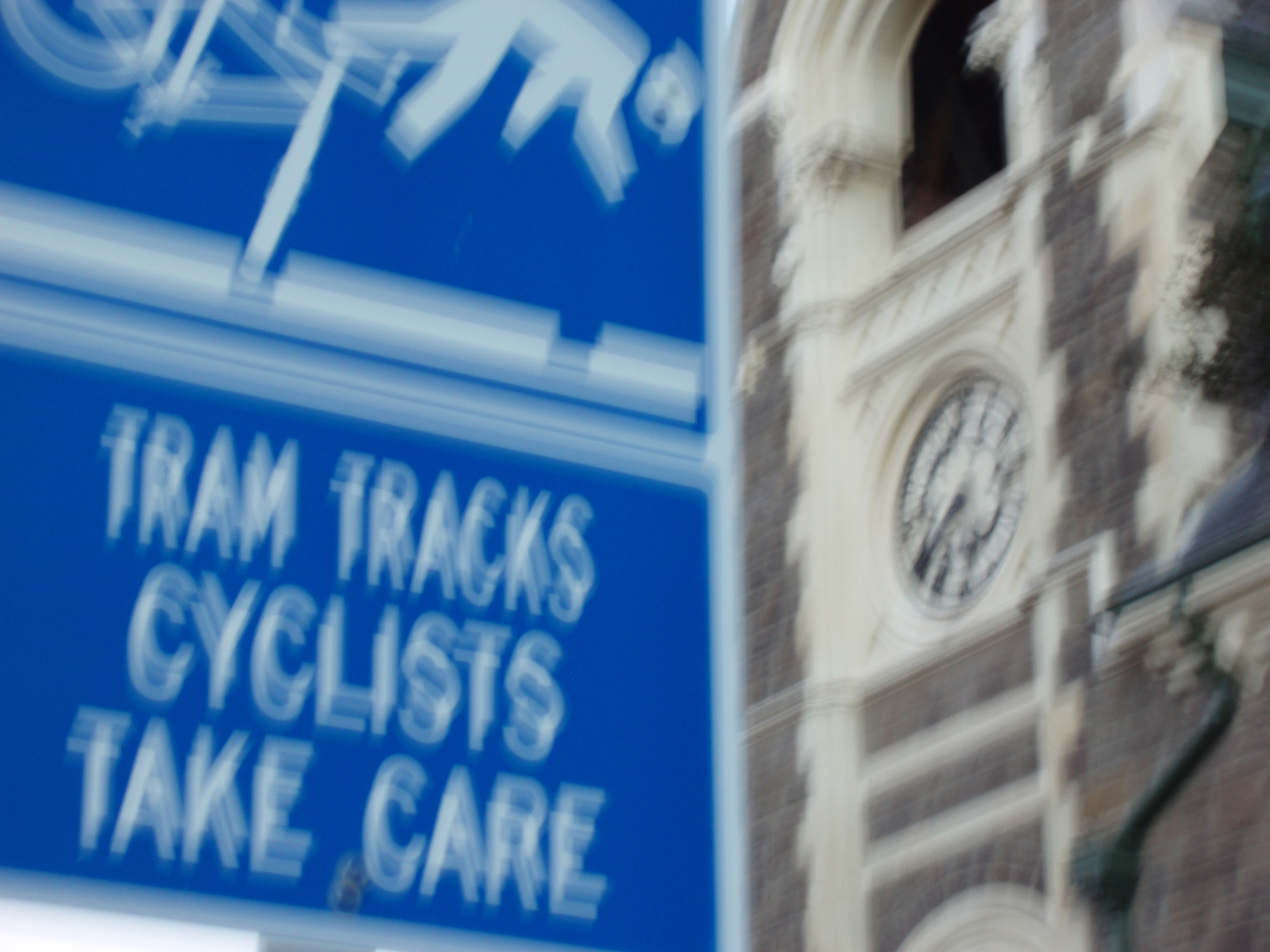 blurred tram track sign concept