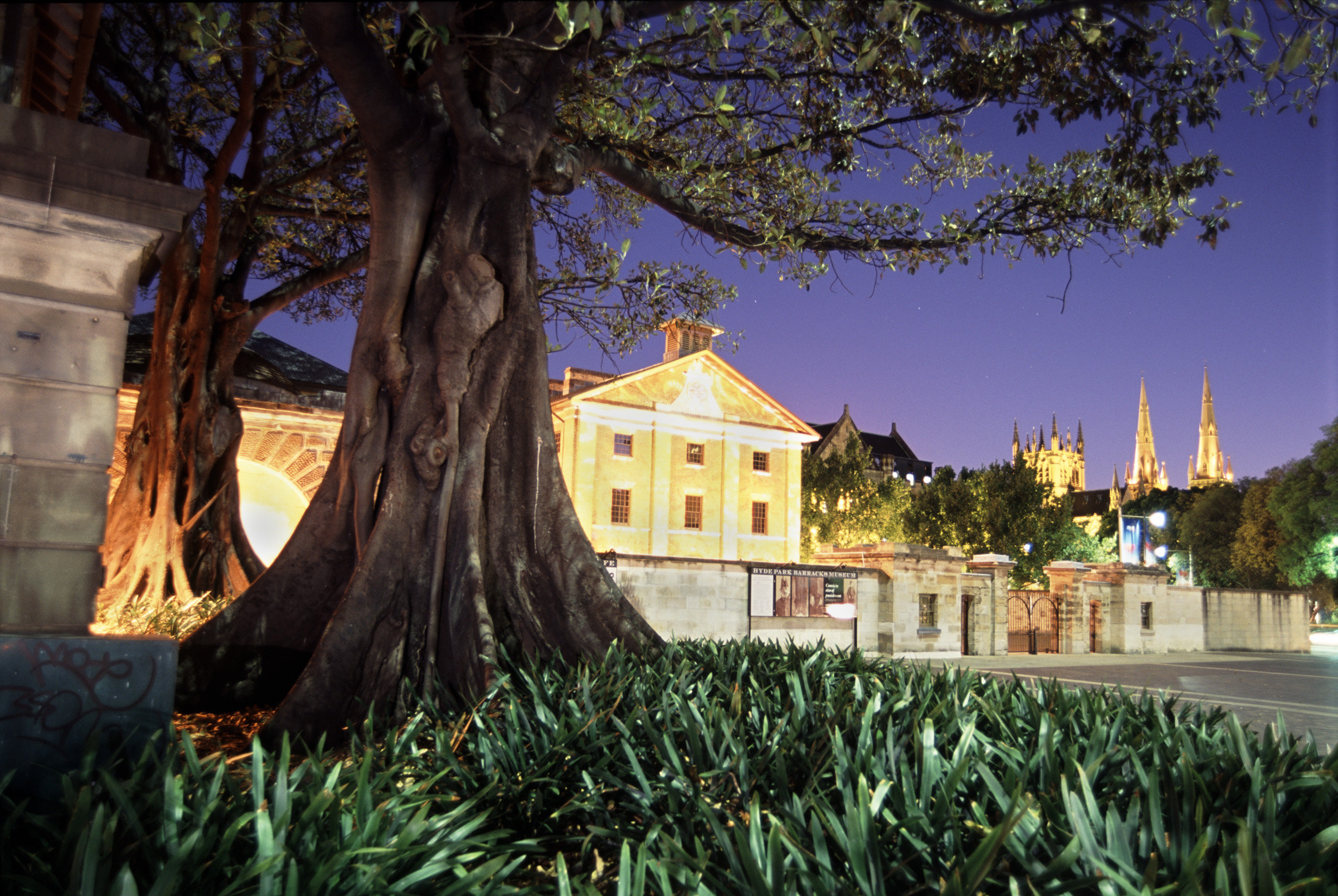 Historic Hyde Park Barracks Museum Illuminated at Dusk, Sydney, Australia