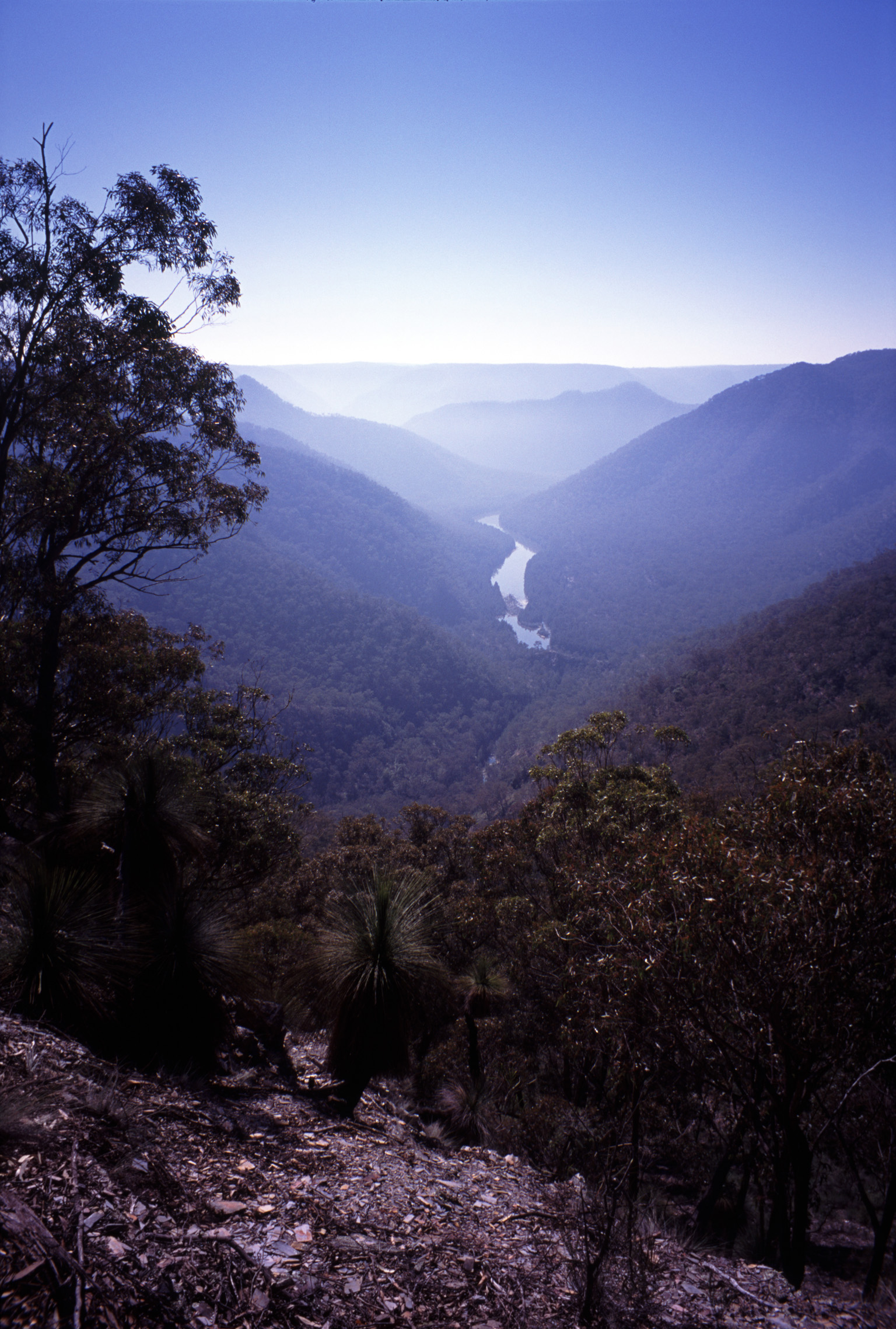 Scenic Landscape of Shoalhaven River Winding Through Valley in Bungonia State Recreation Area, New South Wales, Australia