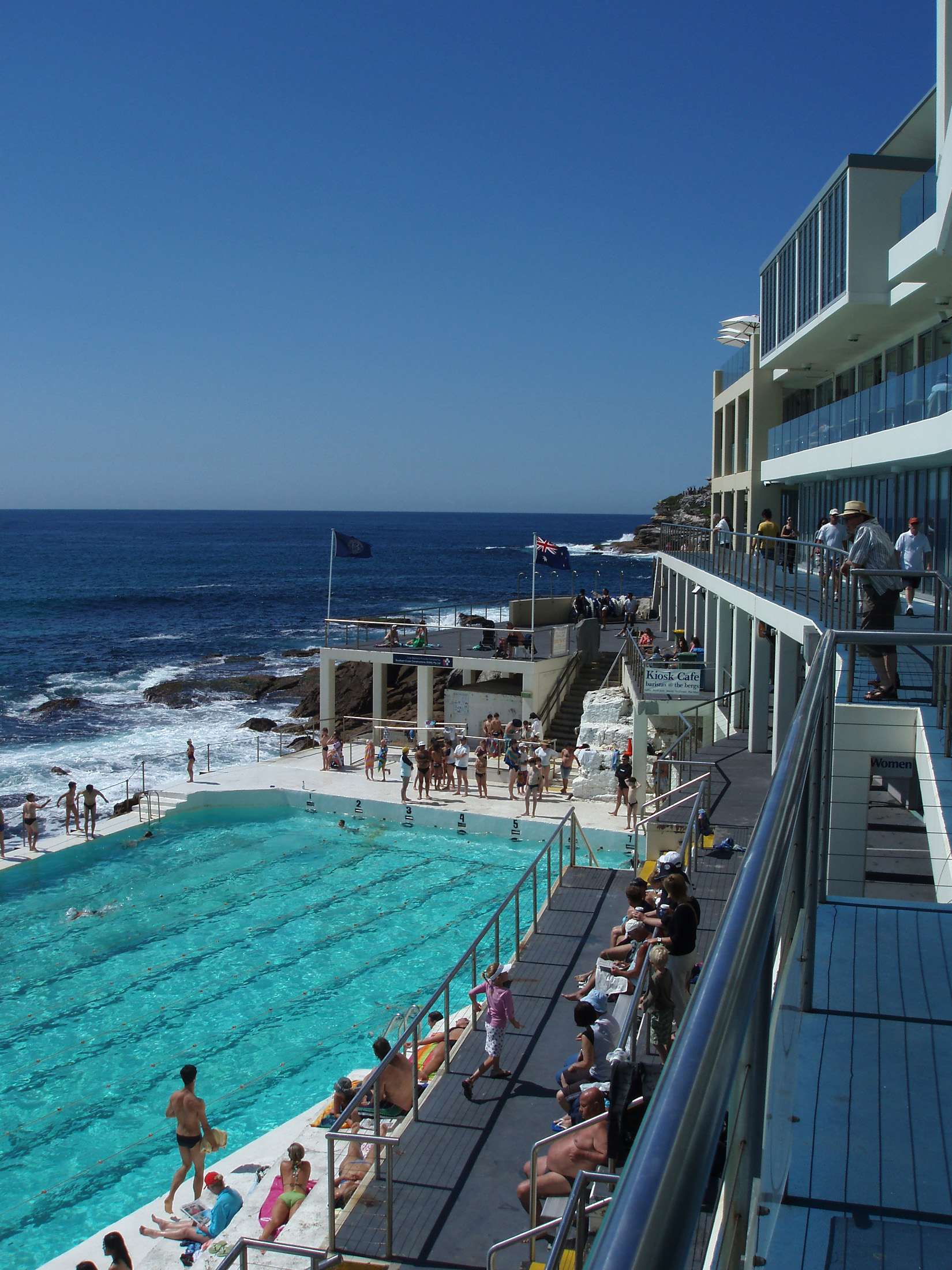 Tourists at Beautiful Tidal Swimming Pool and Sydneys Famous Bondi Beach in Australia. Captured with Blue Sky Background.