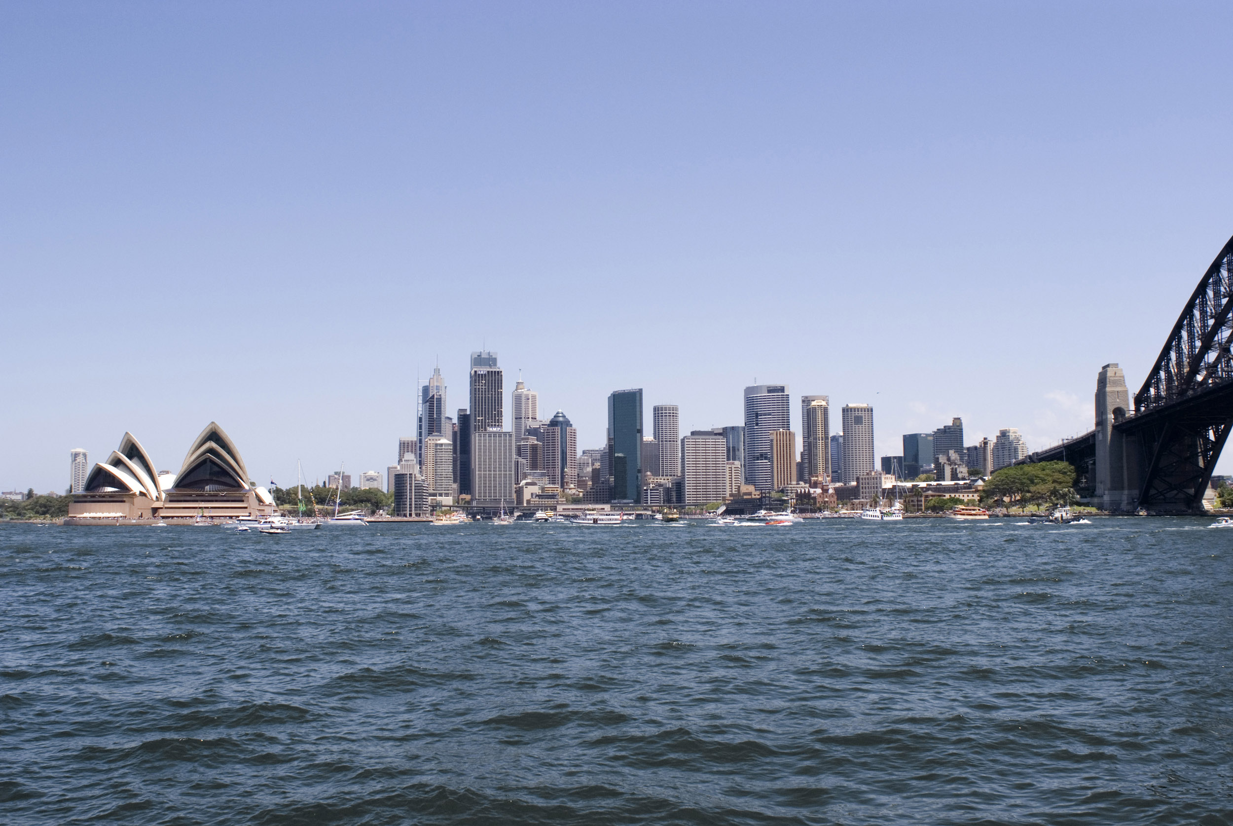 The Sydney CBD, Opera House and Circular Quay from the opposing bank of sydney harbour, port jackson