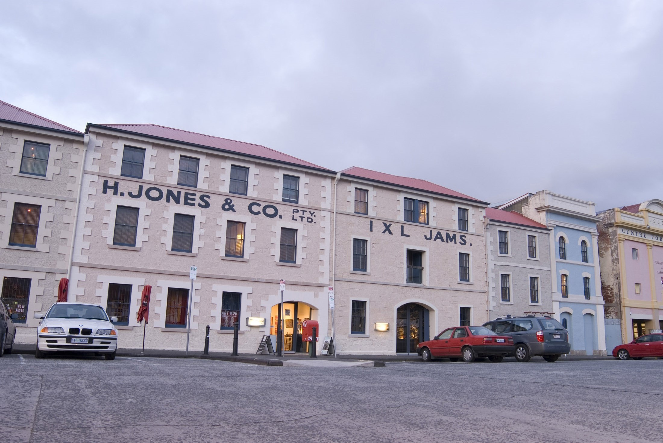 former henry jones warehouse on hobart dock front, now convered into a hotel